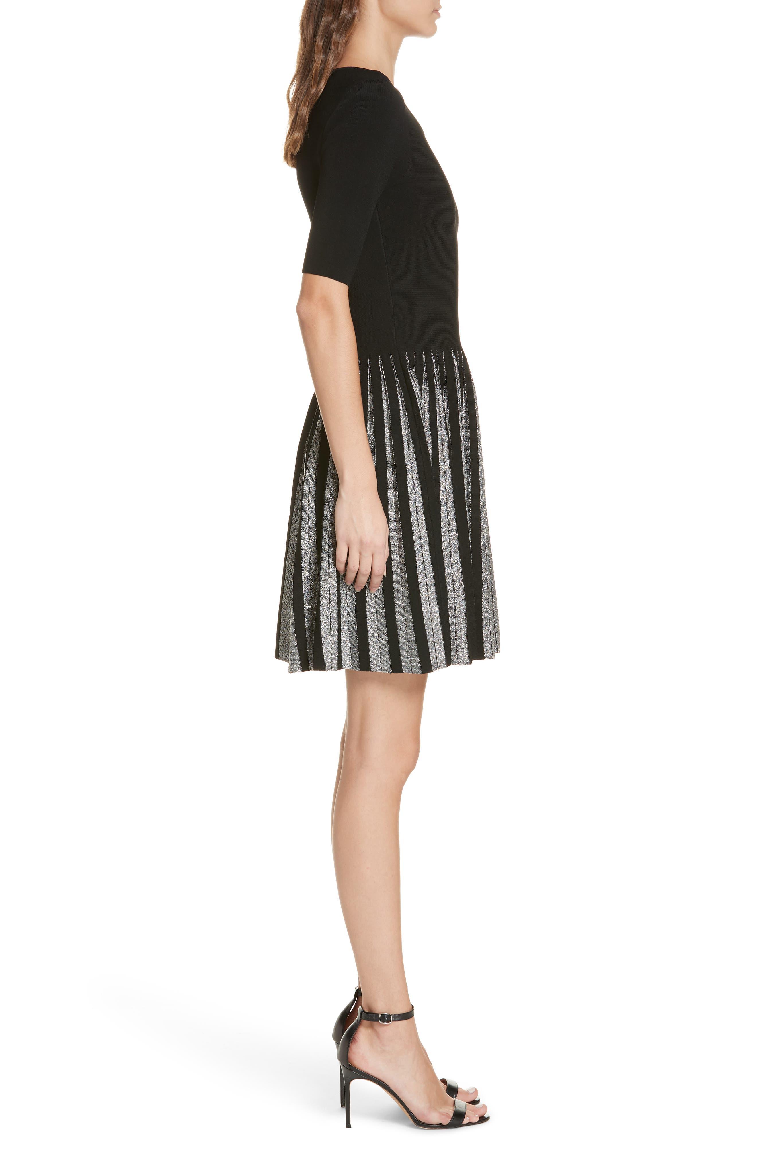 Metallic Pleat Fit & Flare Dress,                             Alternate thumbnail 3, color,                             BLACK/ SILVER