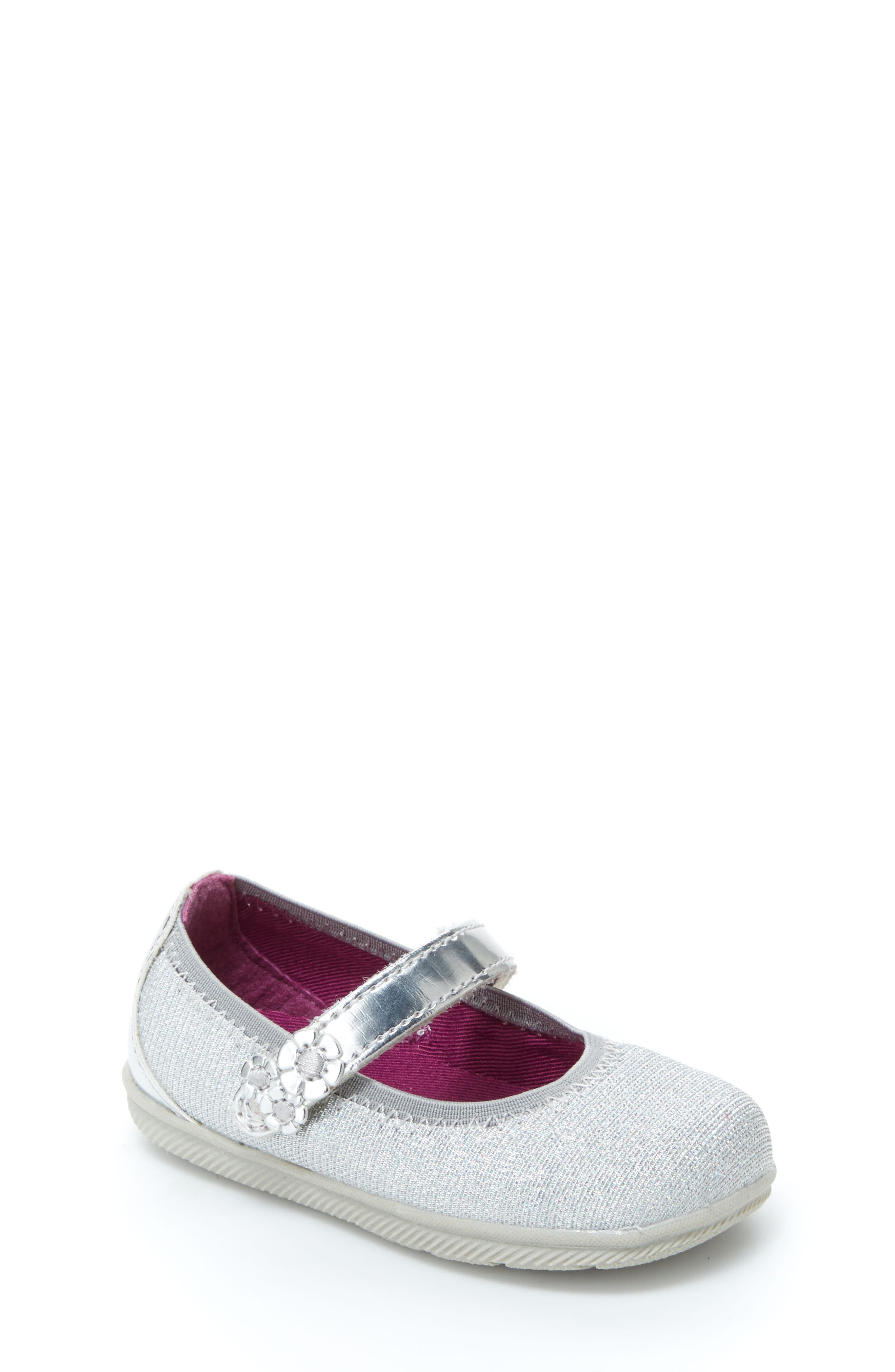 Lil Layla Mary Jane Flat,                         Main,                         color, SILVER