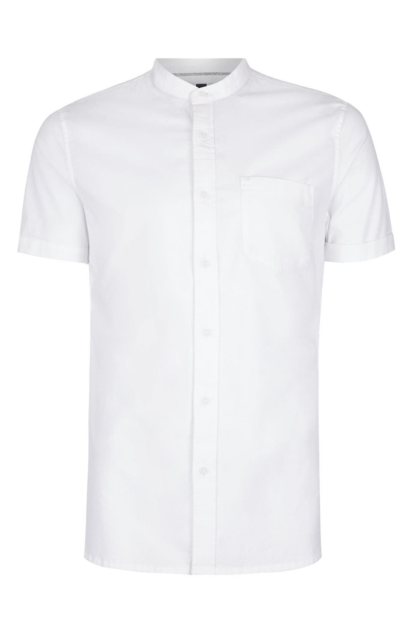 Stand Collar Oxford Shirt,                             Alternate thumbnail 4, color,                             WHITE