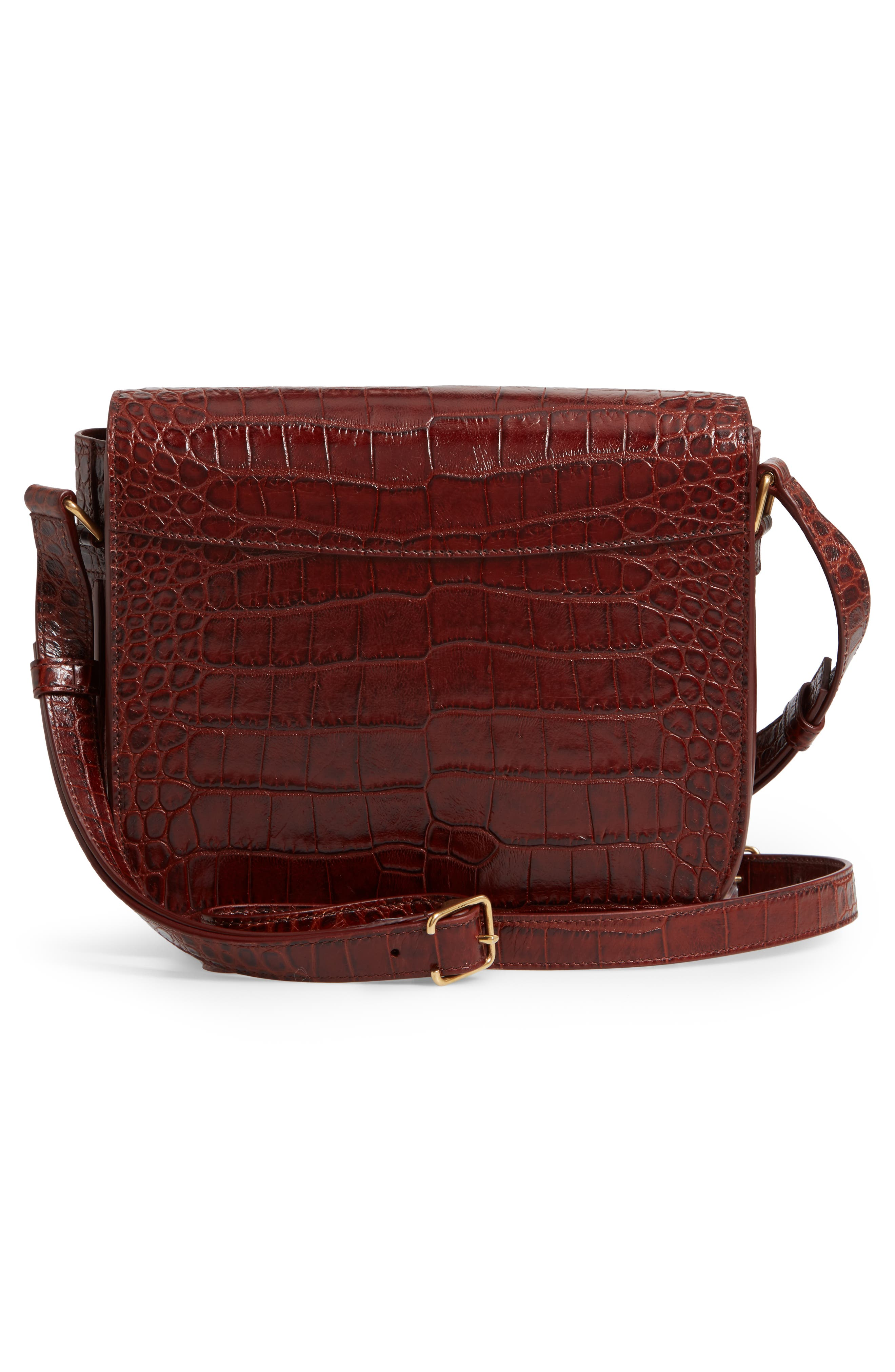 Betty Croc Embossed Leather Shoulder Bag,                             Alternate thumbnail 3, color,                             DARK BLOOD