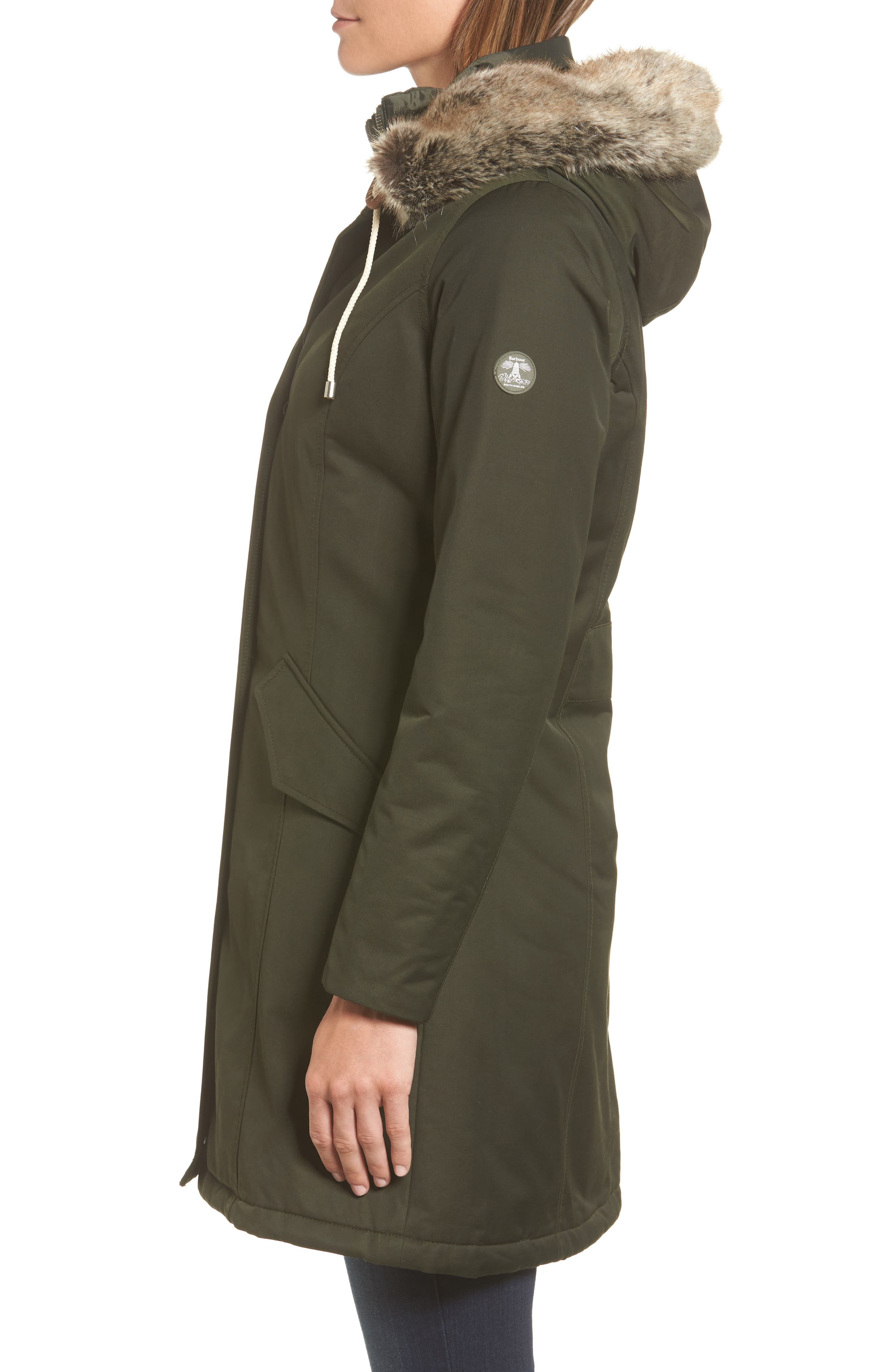 Filey Waterproof Hooded Jacket with Faux Fur Trim,                             Alternate thumbnail 3, color,                             302