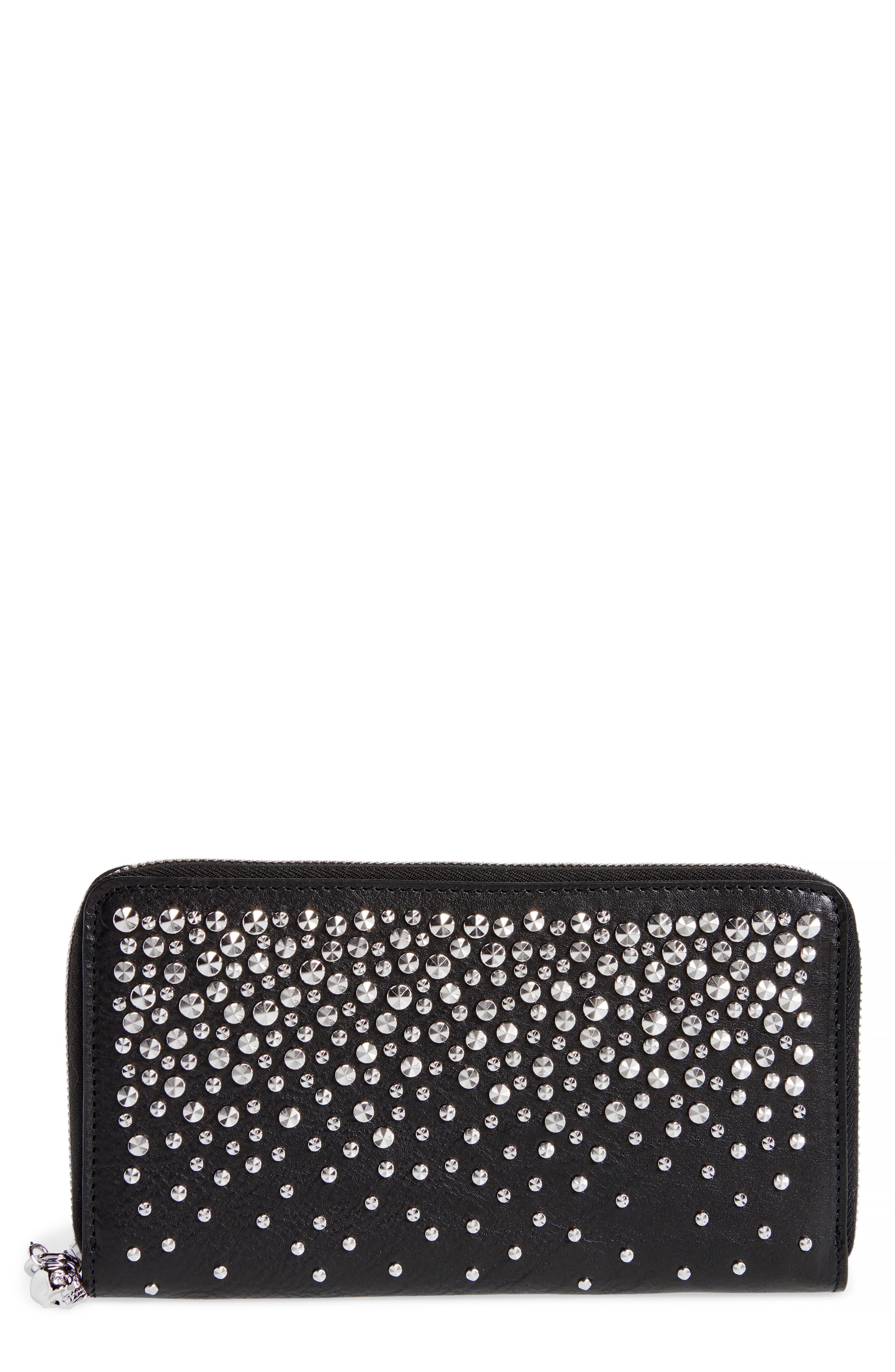 Studded Continental Wallet,                         Main,                         color, BLACK
