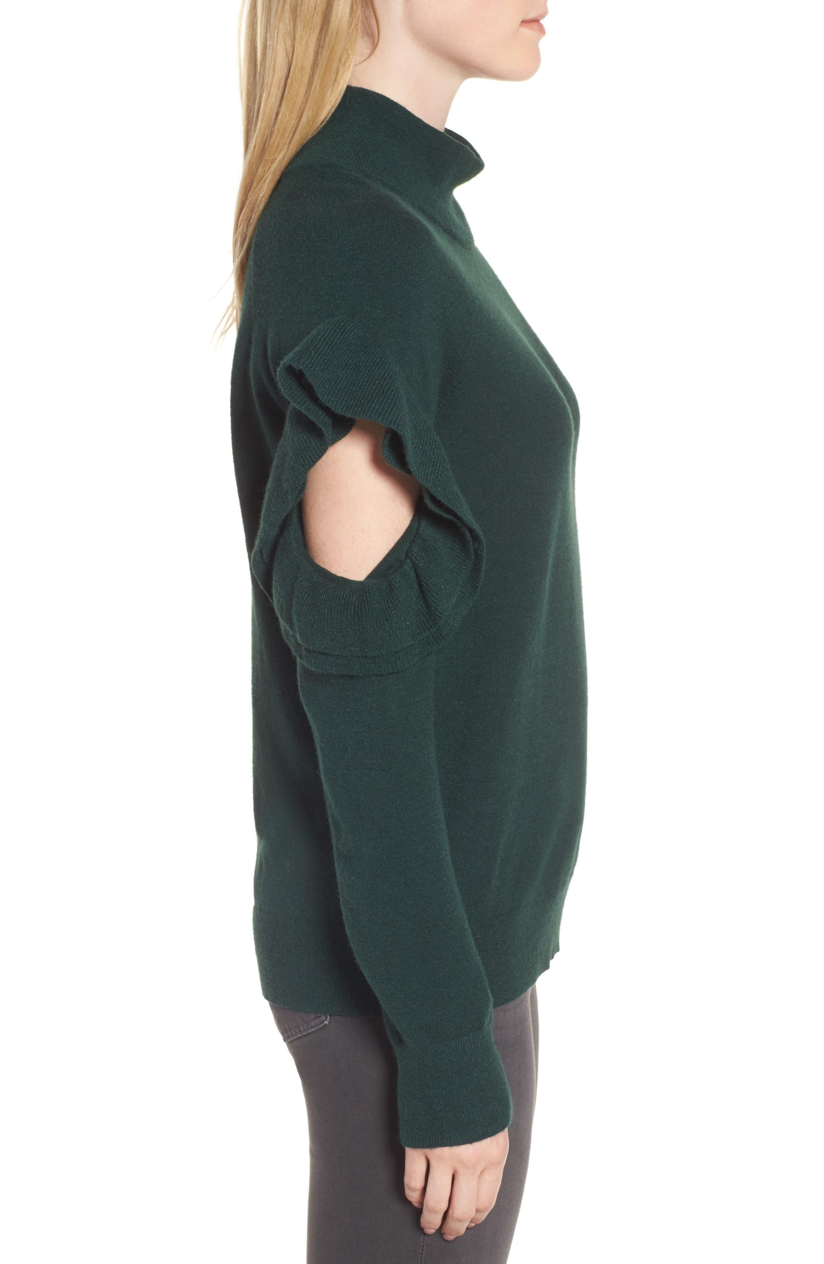 Ruffle Sleeve Sweater,                             Alternate thumbnail 9, color,