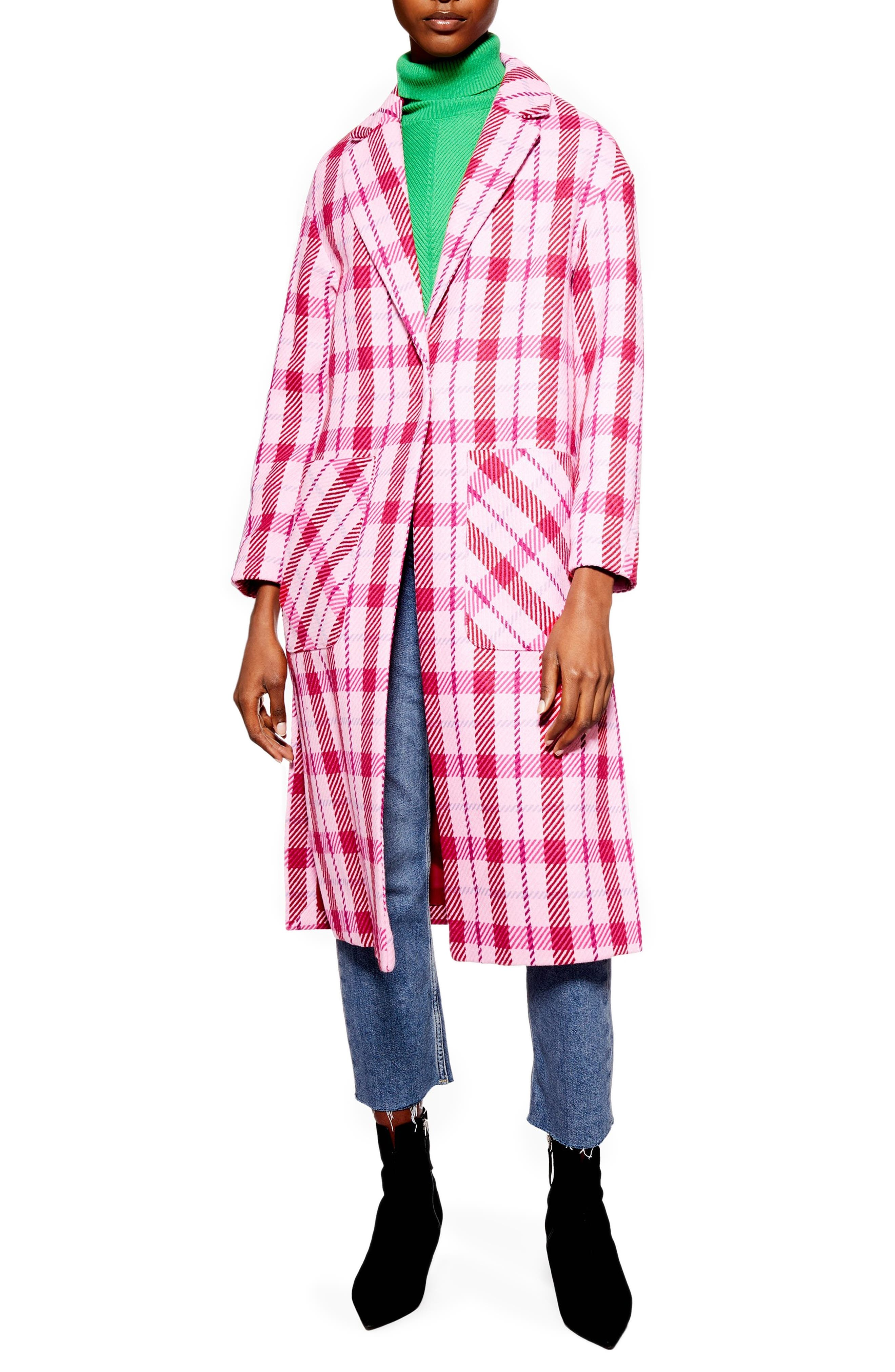TOPSHOP Suzy Check Side Split Jacket, Main, color, 650