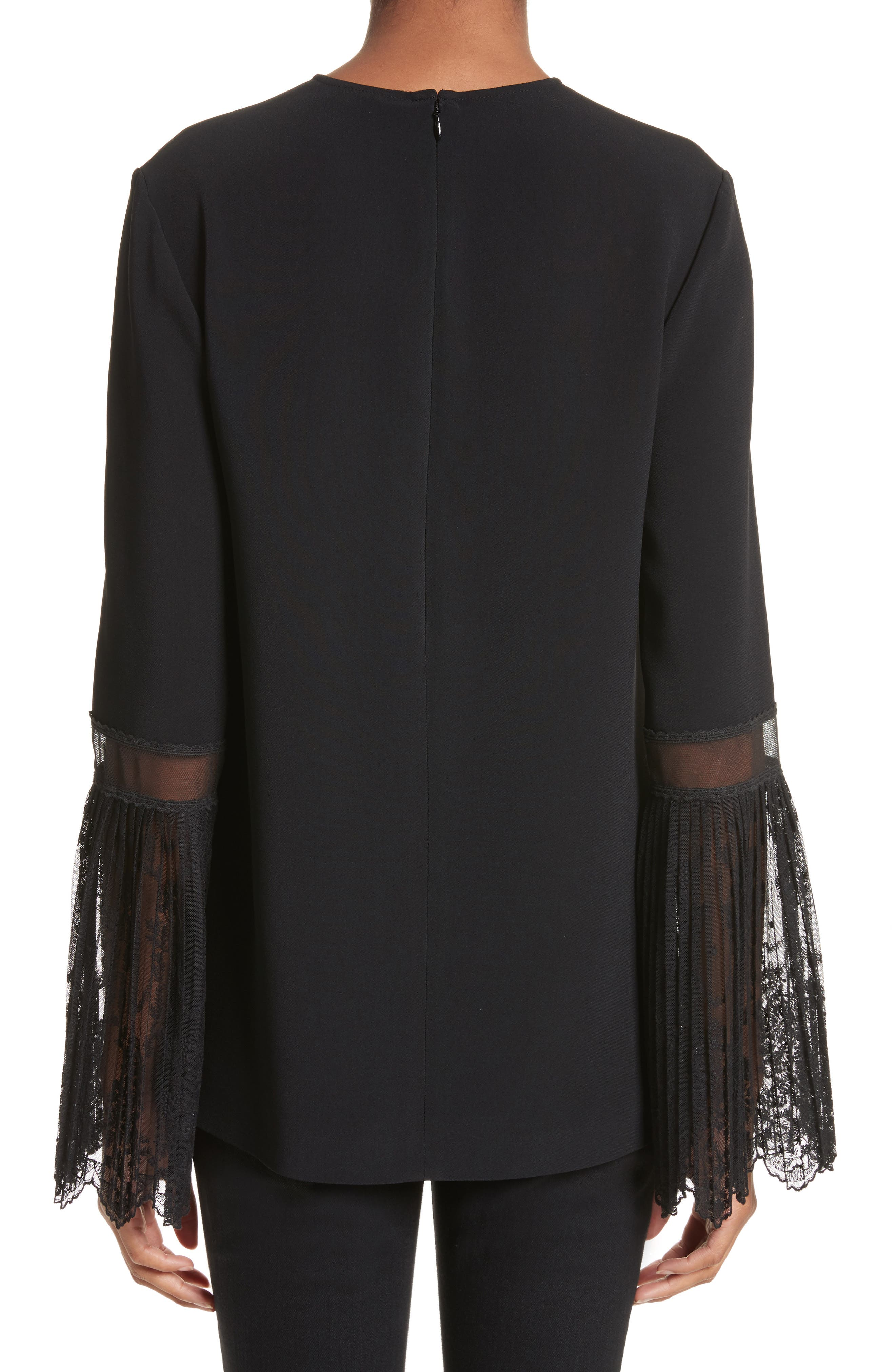 Tulle Cuff Stretch Cady Blouse,                             Alternate thumbnail 2, color,                             001