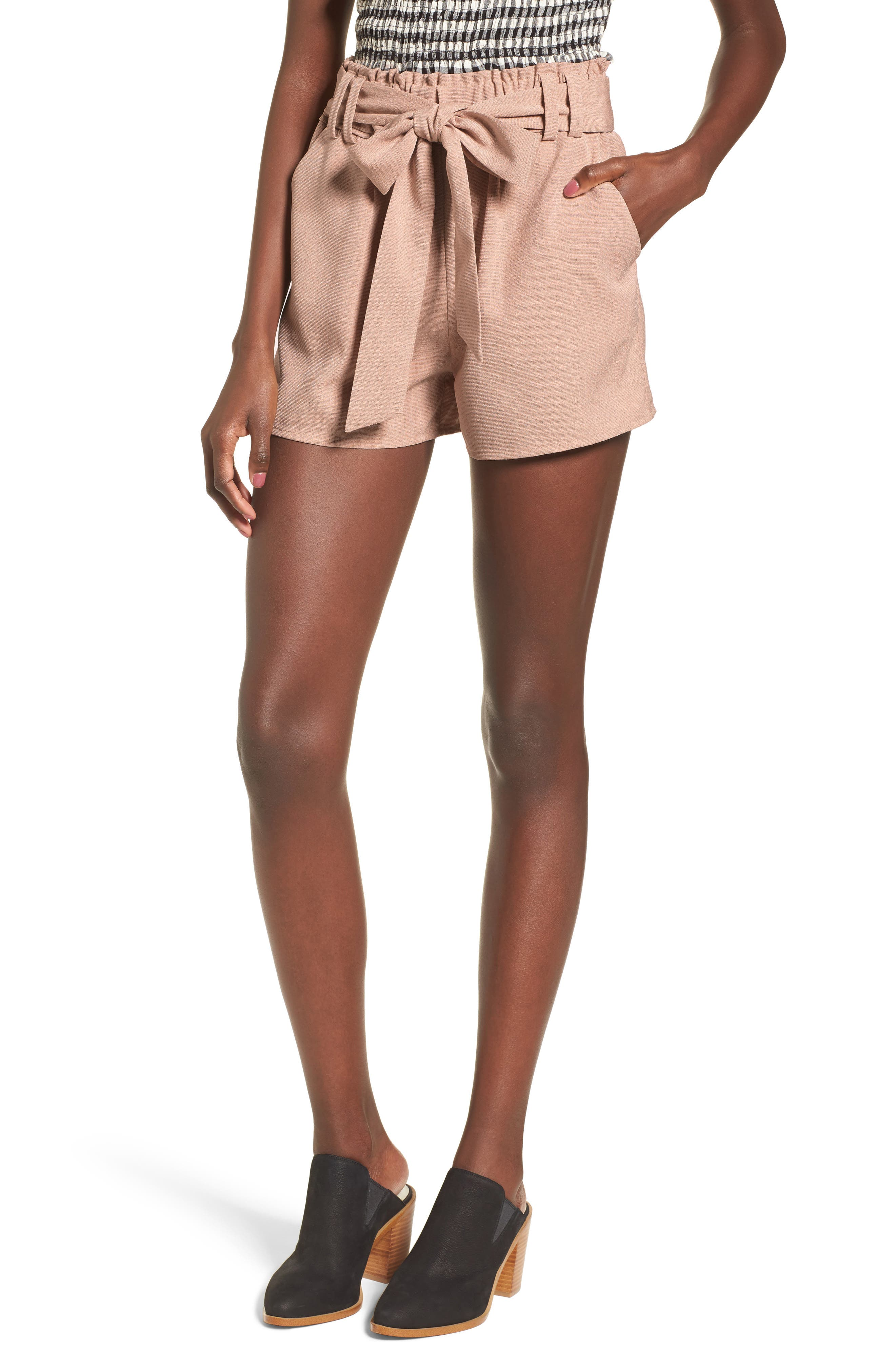 Tie Waist Shorts,                         Main,                         color, DUSTY PINK