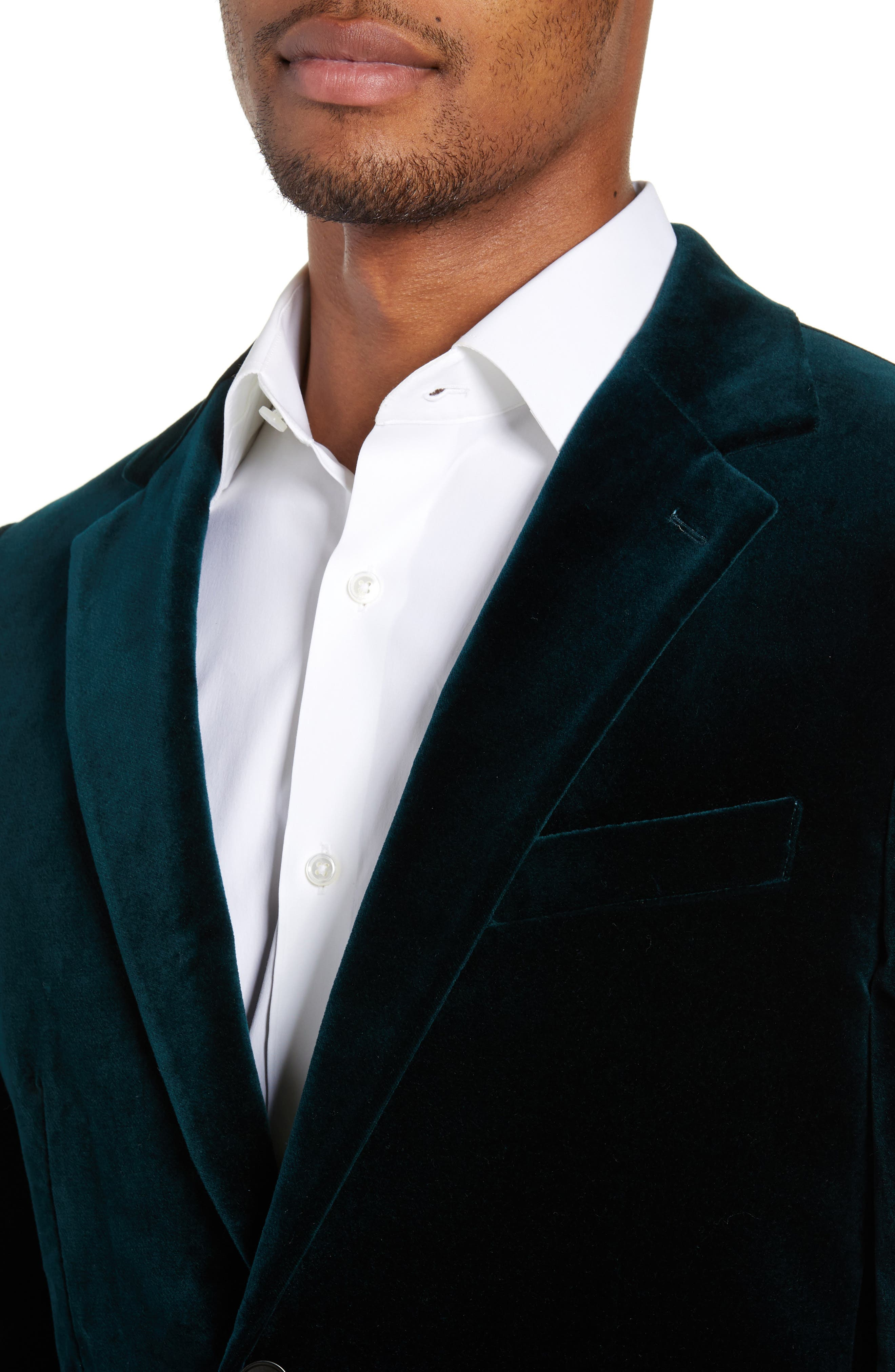 Jetsetter Slim Fit Stretch Velveteen Blazer,                             Alternate thumbnail 4, color,                             SOFT TEAL