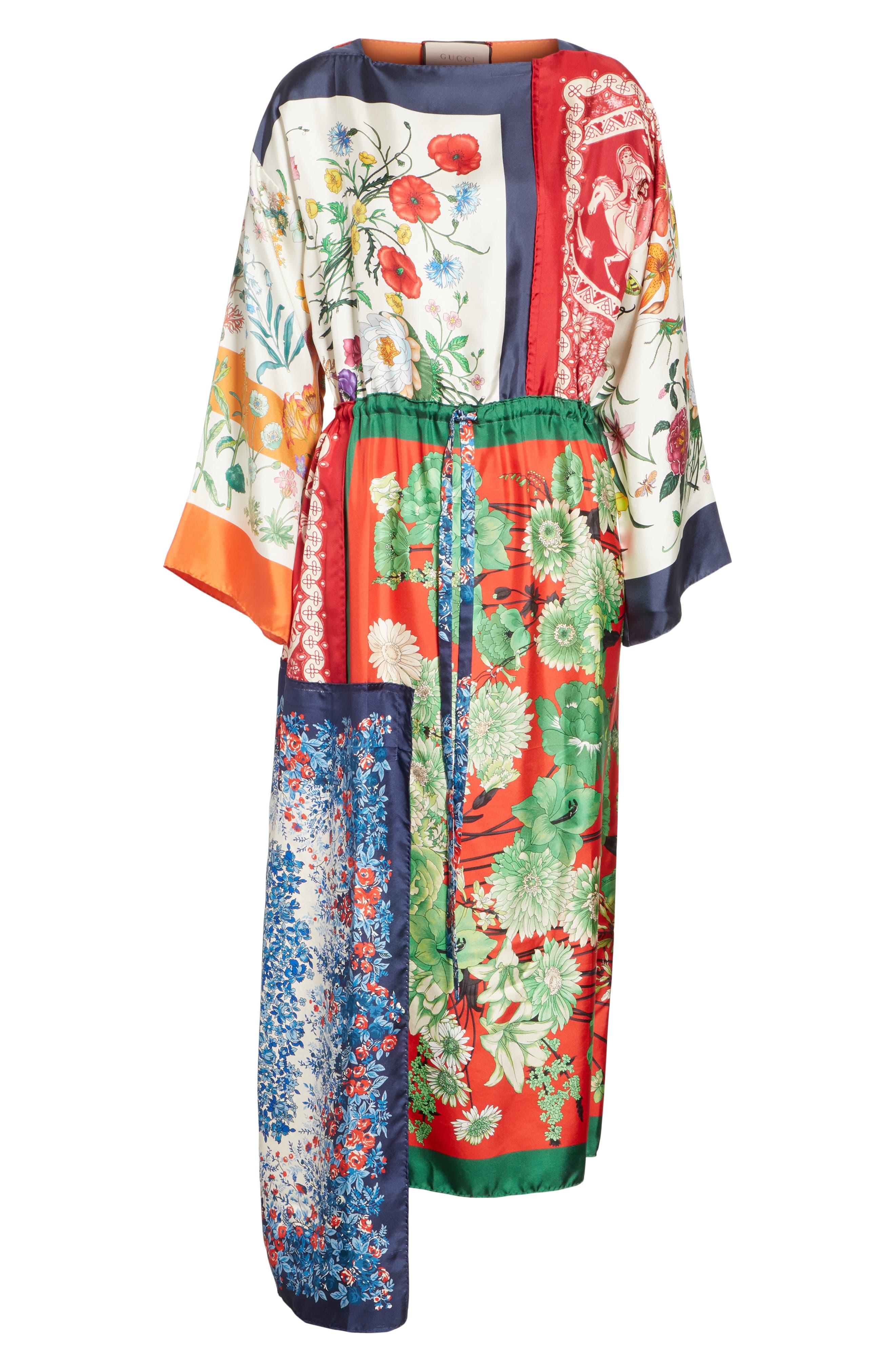 Patchwork Print Asymmetrical Silk Dress,                             Alternate thumbnail 3, color,                             412