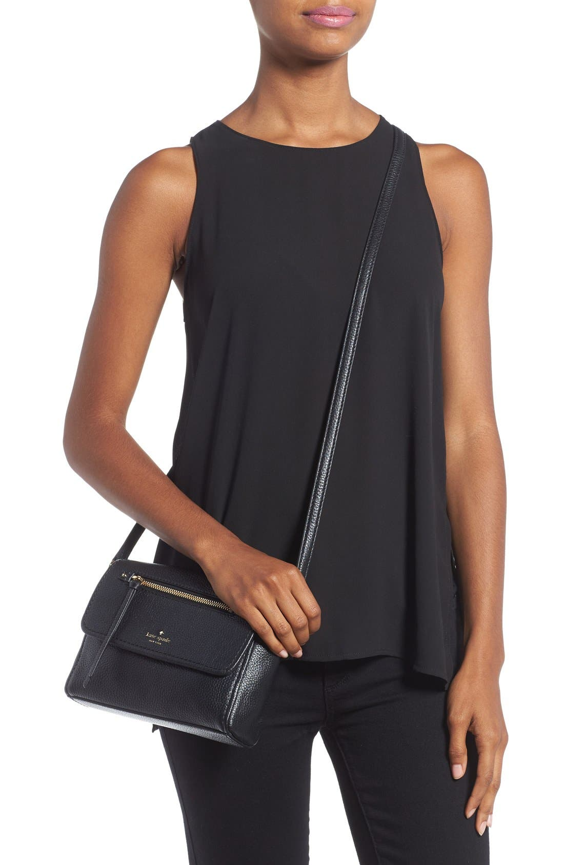 'cobble hill - mini toddy' leather crossbody bag,                             Alternate thumbnail 2, color,                             001