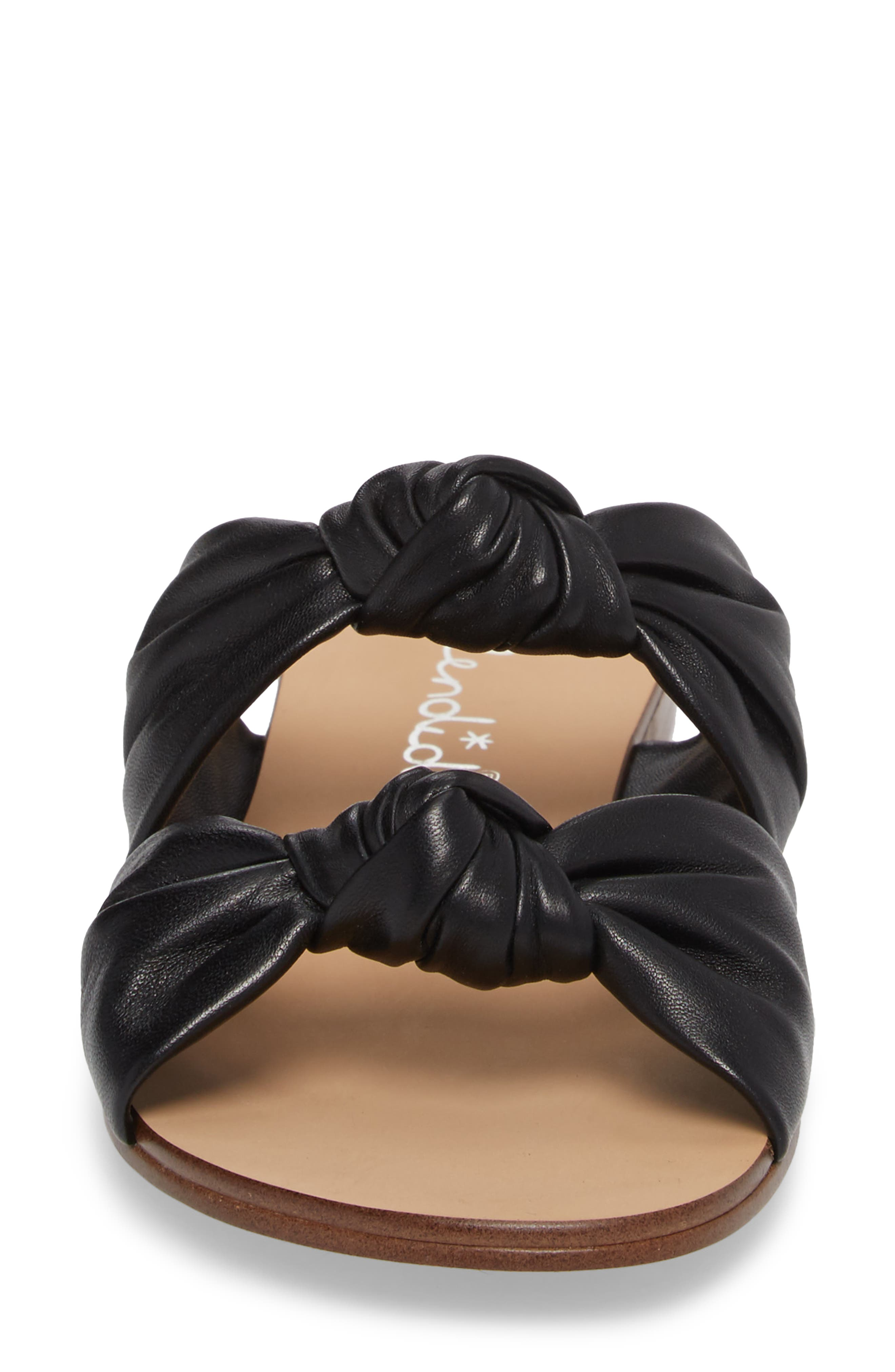 Barton Double Knotted Slide Sandal,                             Alternate thumbnail 4, color,                             BLACK LEATHER