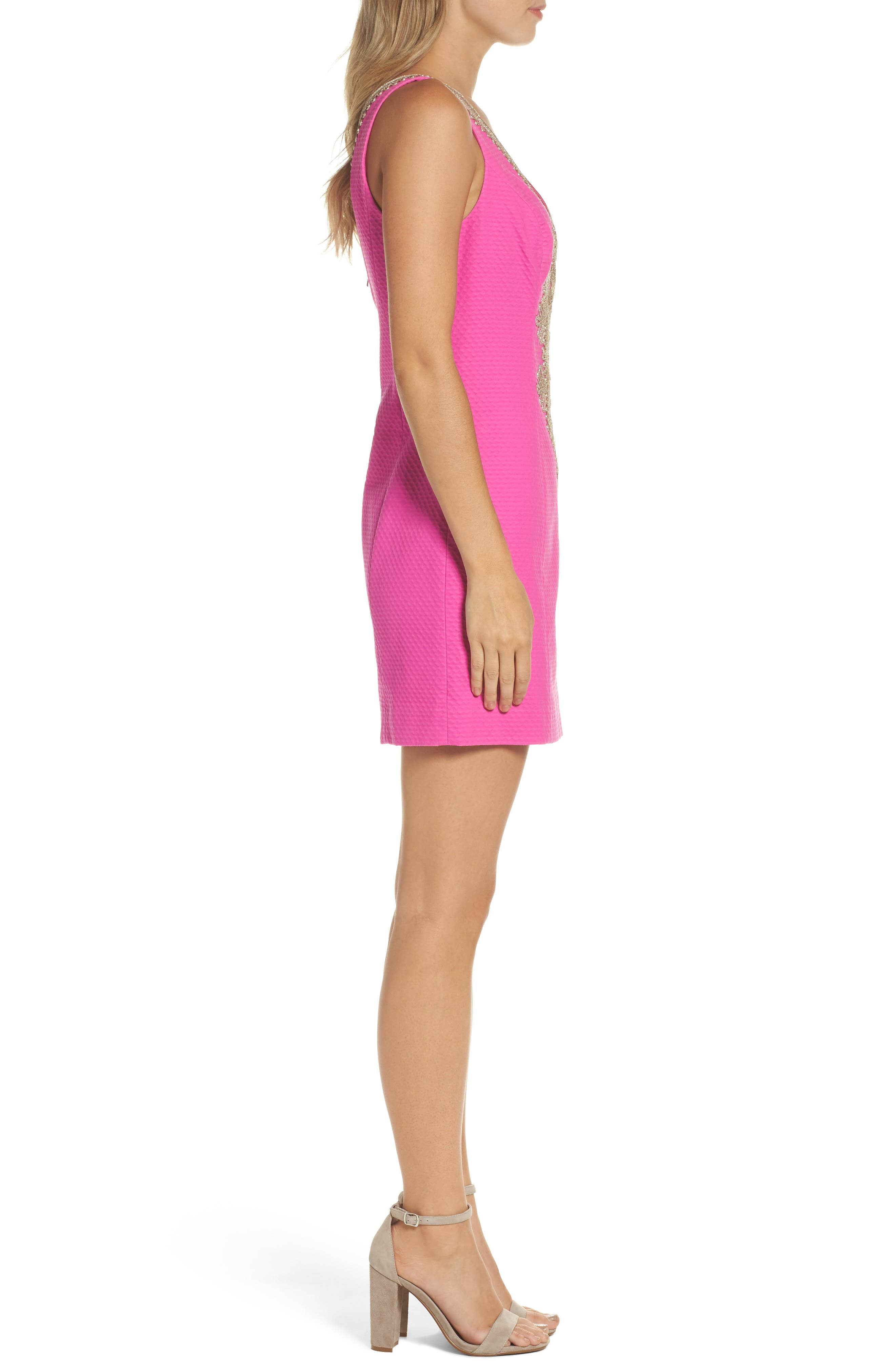 Junie Embroidered Sheath Dress,                             Alternate thumbnail 3, color,                             500