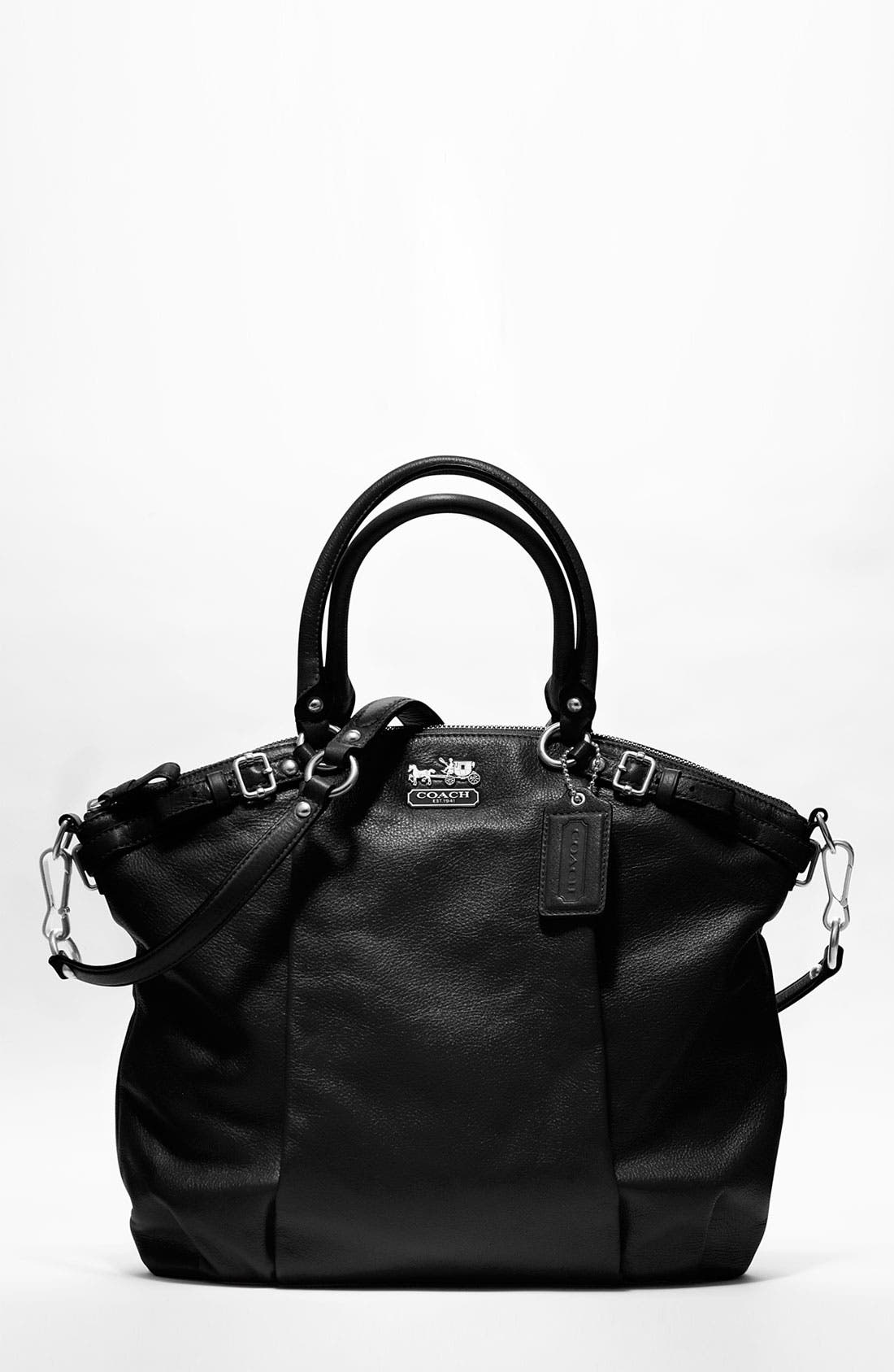 COACH MADISON LEATHER LINDSEY SATCHEL, Main, color, 006