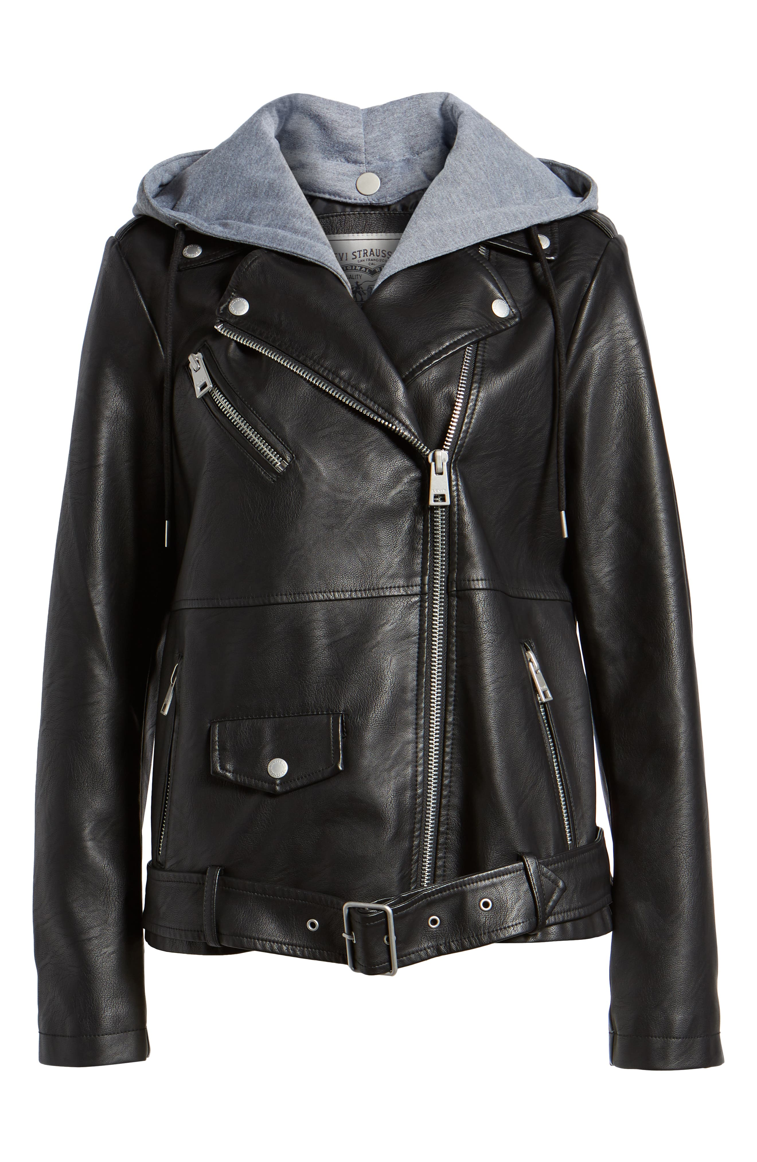 Fleece Hood Oversized Faux Leather Moto Jacket,                             Alternate thumbnail 6, color,                             BLACK