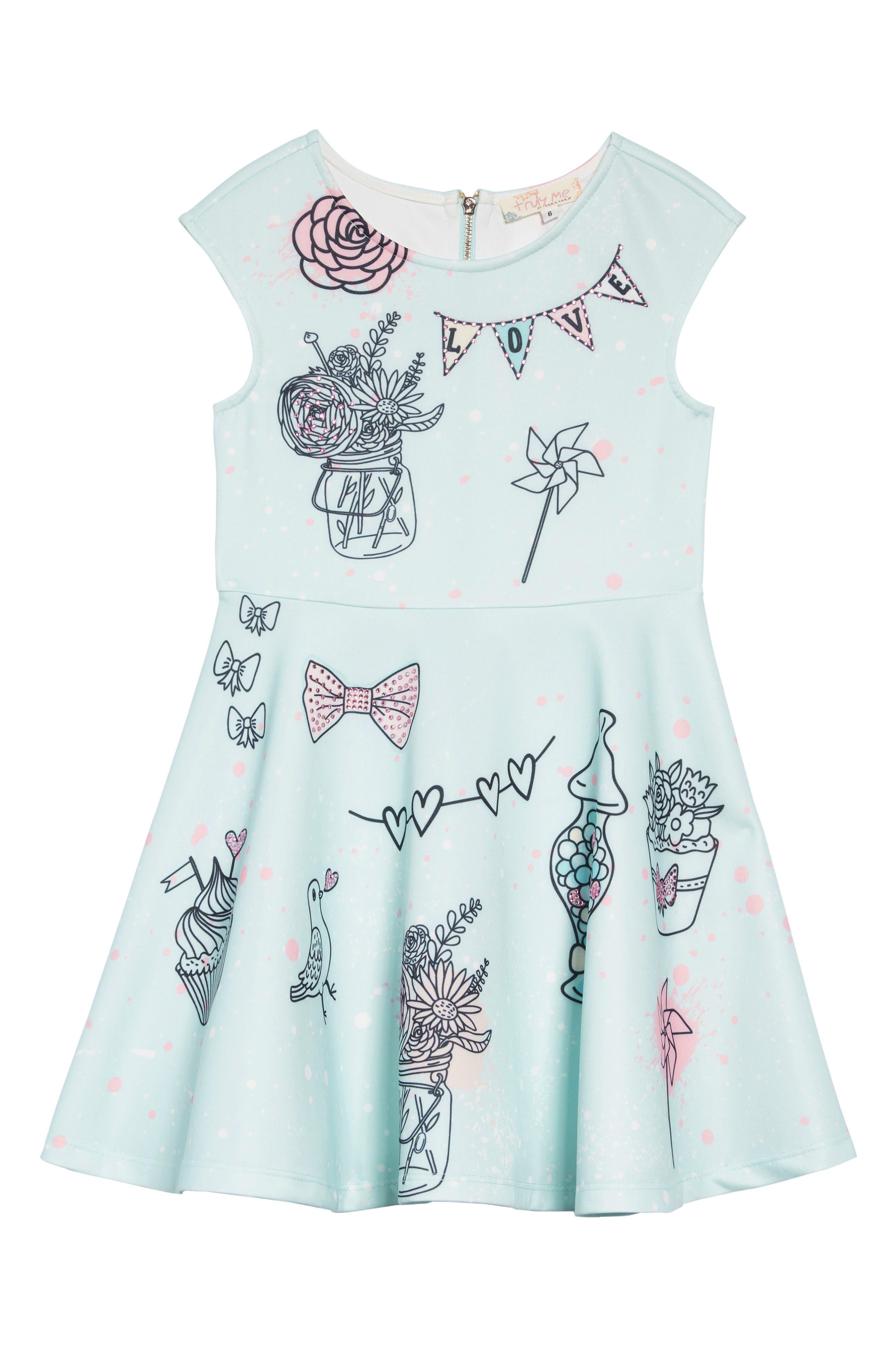 Whimsy Embellished Fit & Flare Dress, Main, color, AQUA MULTI