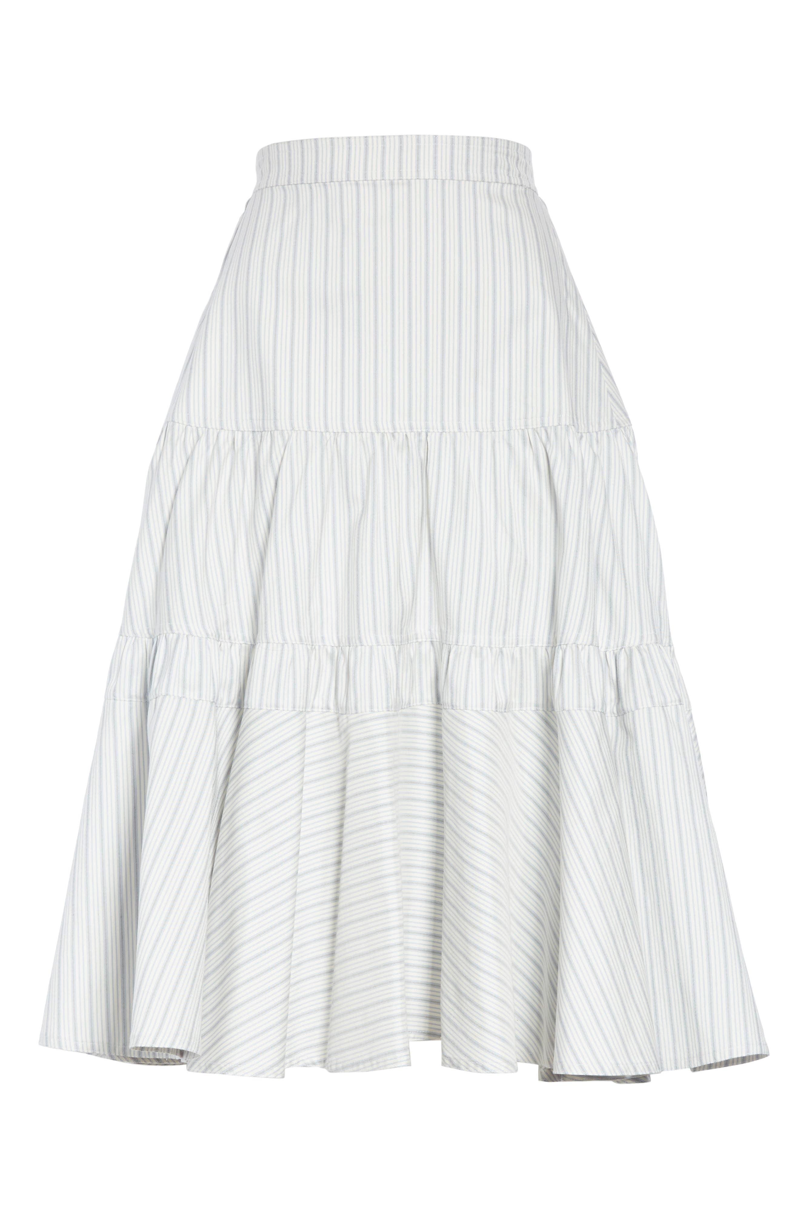 Silk Tiered Prairie Skirt,                             Alternate thumbnail 6, color,                             CREAM BLUE