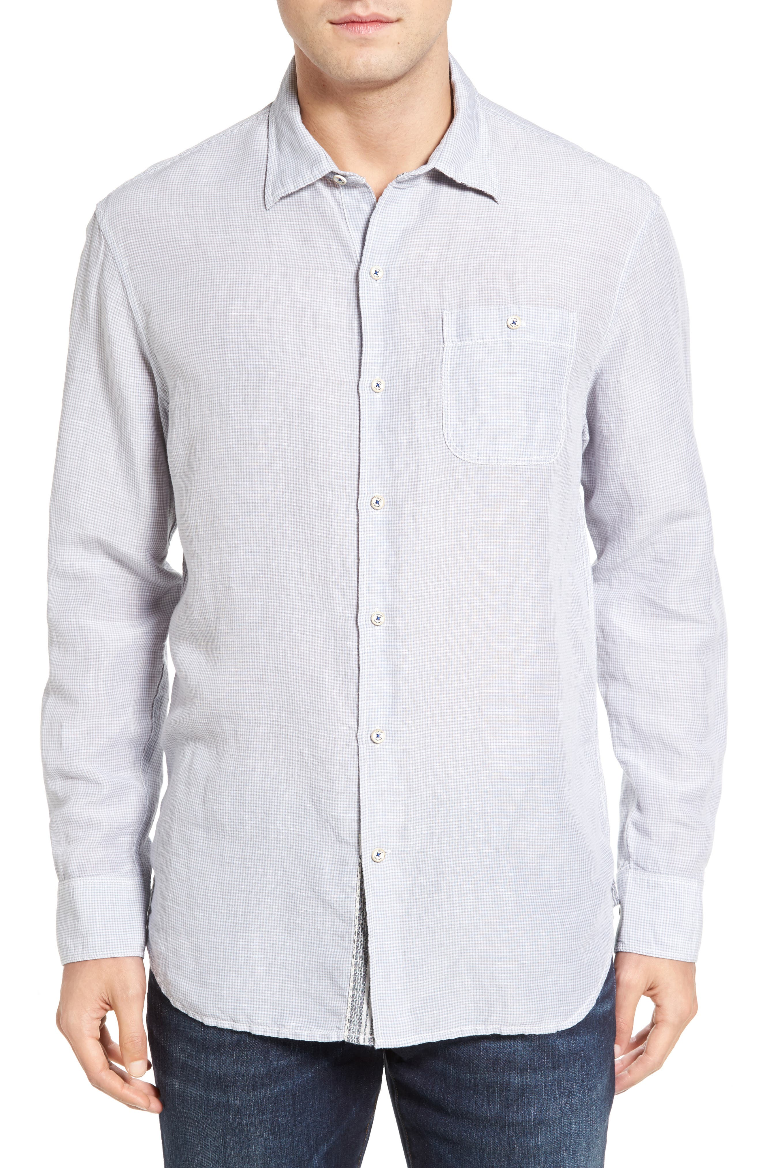Sand Linen Island Modern Fit Sport Shirt,                         Main,                         color, 050