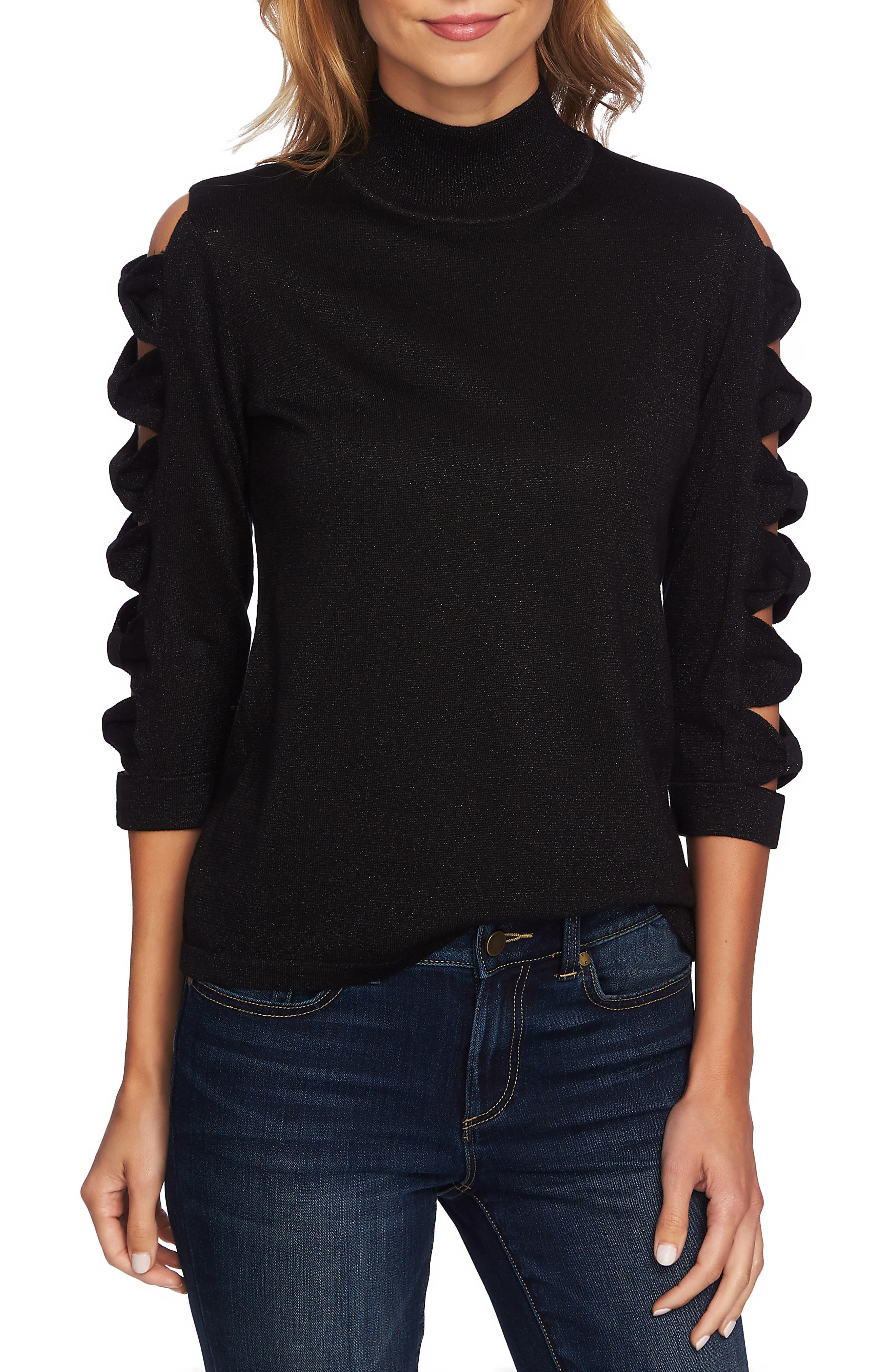Bow Sleeve Turtleneck, Main, color, RICH BLACK