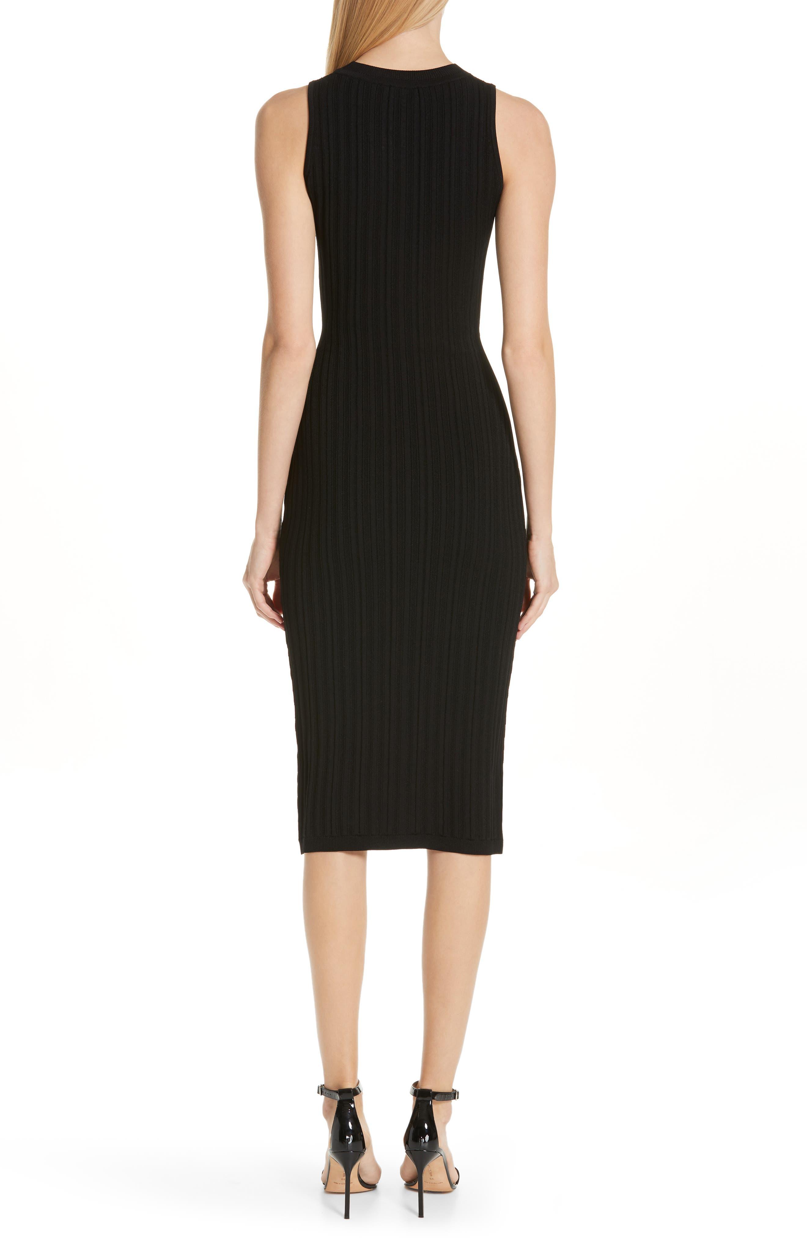 CUSHNIE,                             Knit Pencil Dress,                             Alternate thumbnail 2, color,                             BLACK