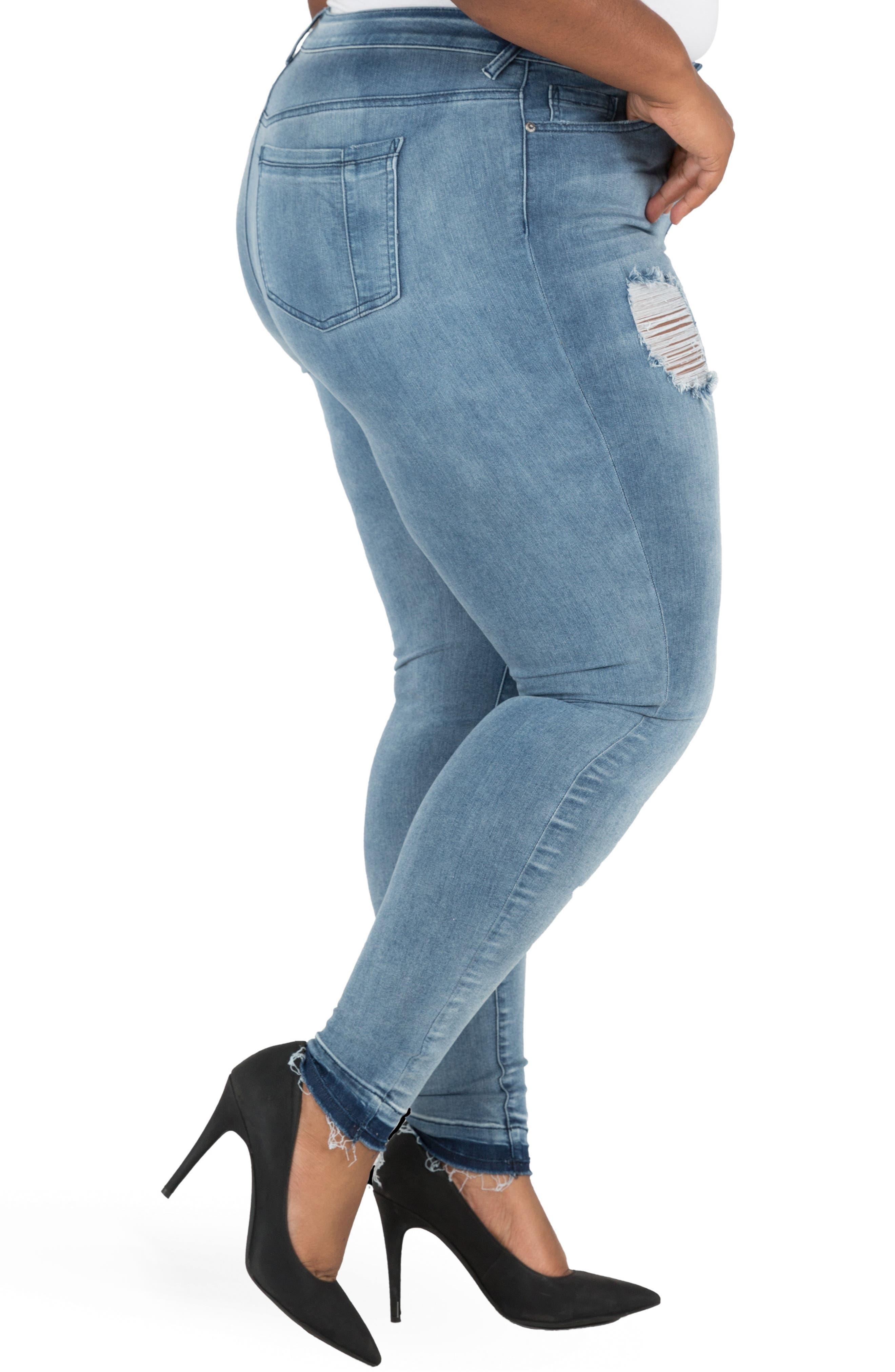 Corrine Release Hem Skinny Crop Jeans,                             Alternate thumbnail 3, color,                             LIGHT BLUE