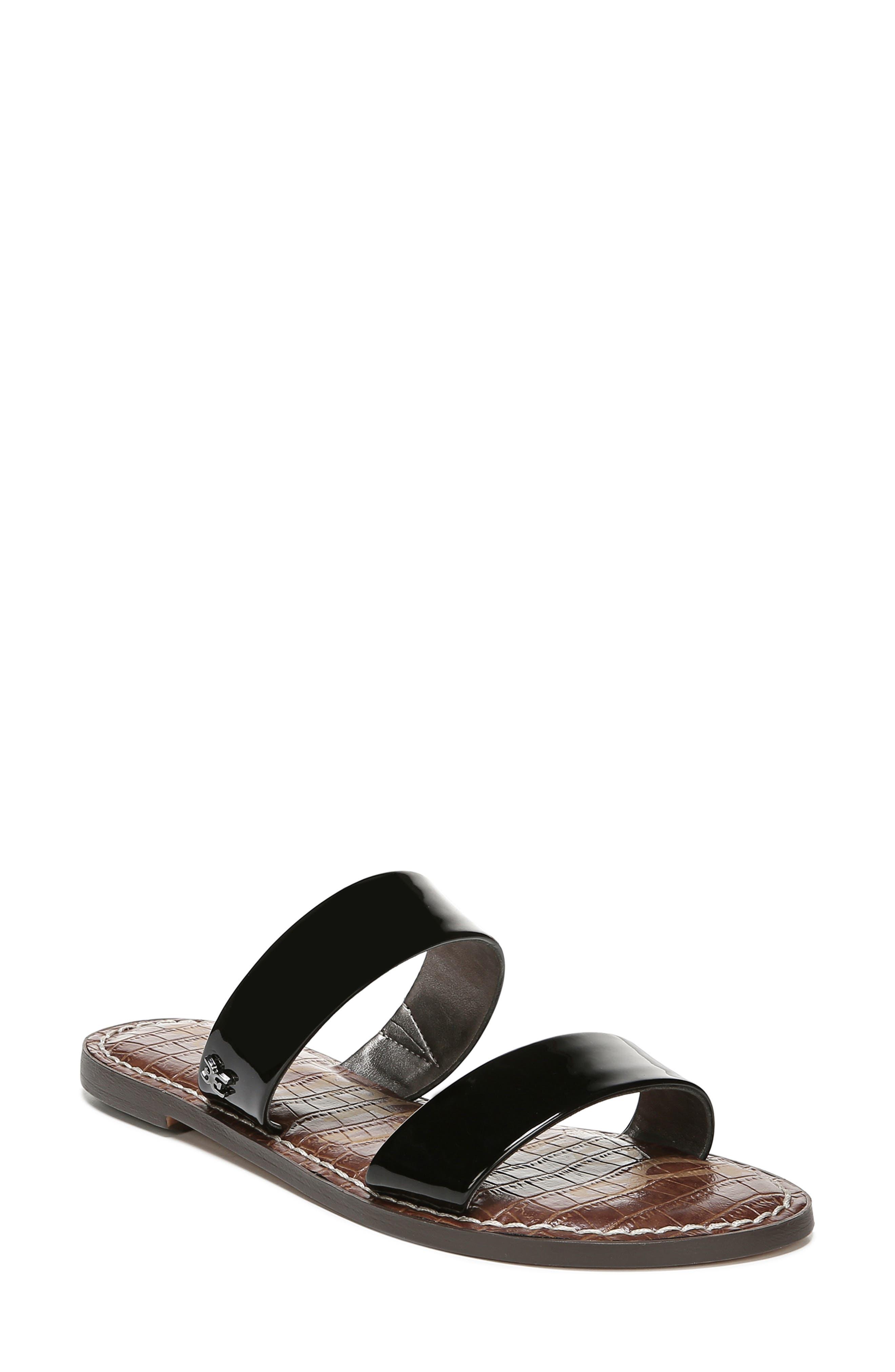 SAM EDELMAN,                             Gala Two Strap Slide Sandal,                             Main thumbnail 1, color,                             BLACK FAUX PATENT LEATHER