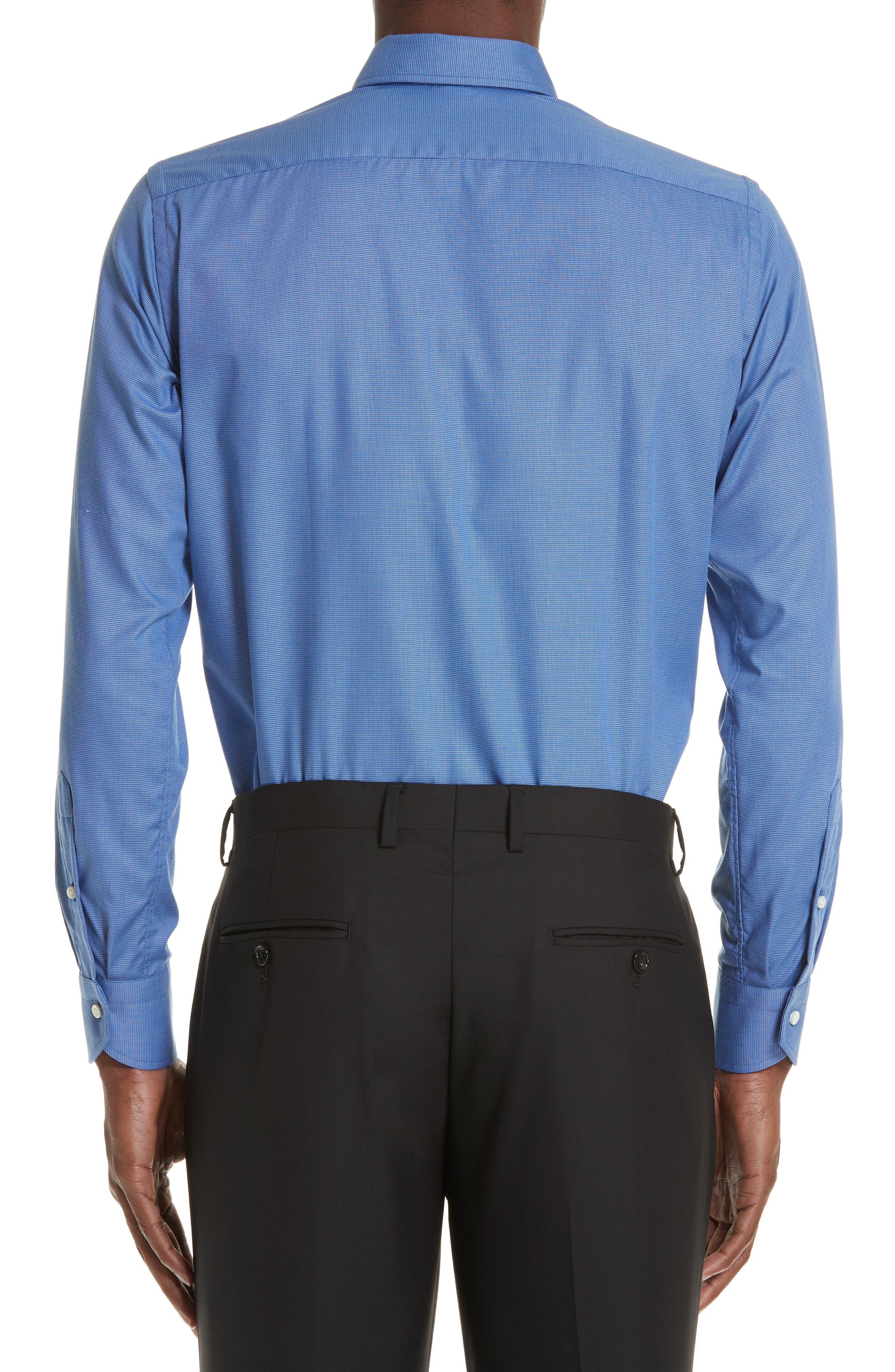 Trim Fit Dress Shirt,                             Alternate thumbnail 3, color,                             DARK BLUE