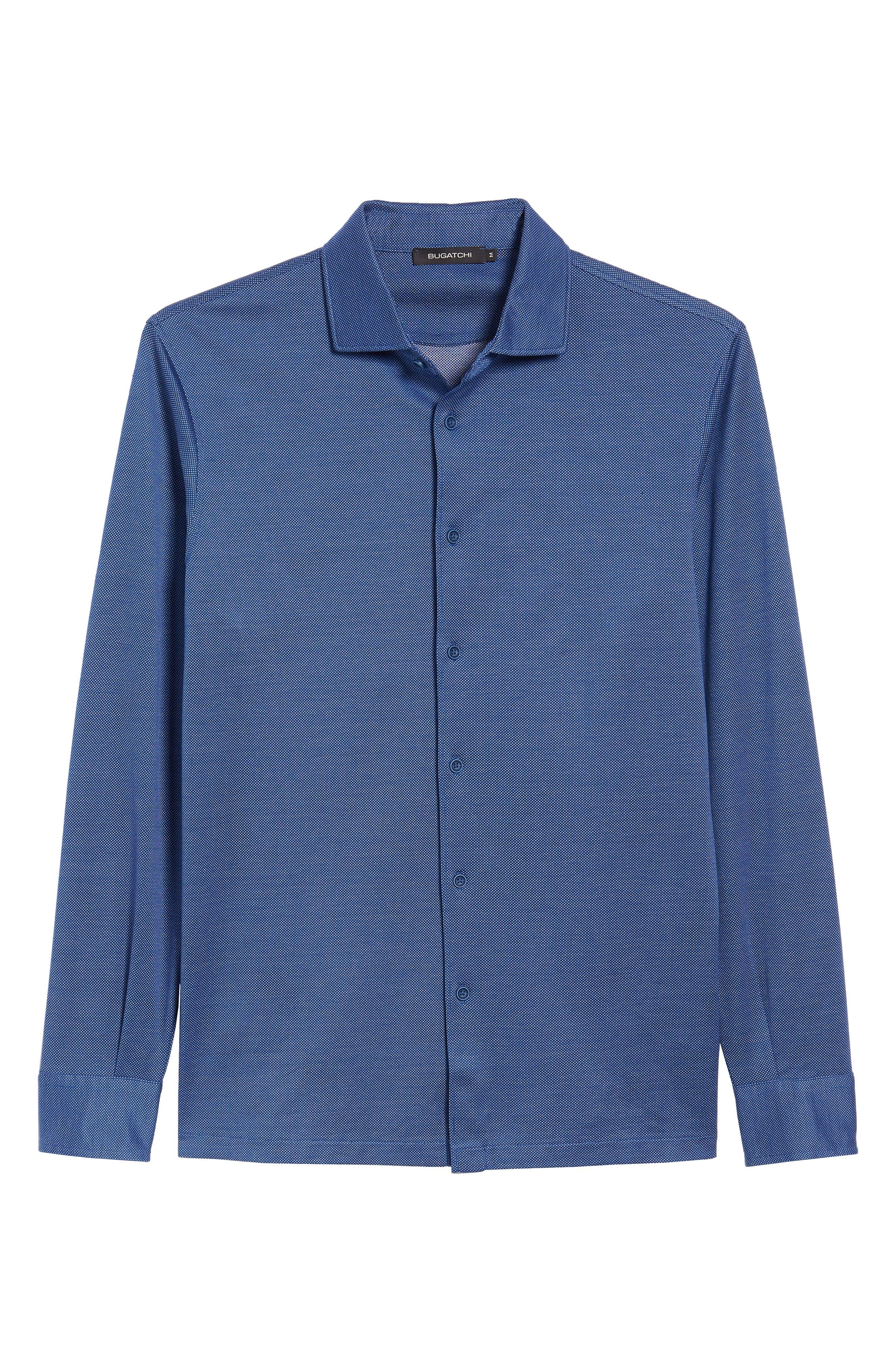 Regular Fit Microdot Print Knit Sport Shirt,                             Alternate thumbnail 6, color,                             411