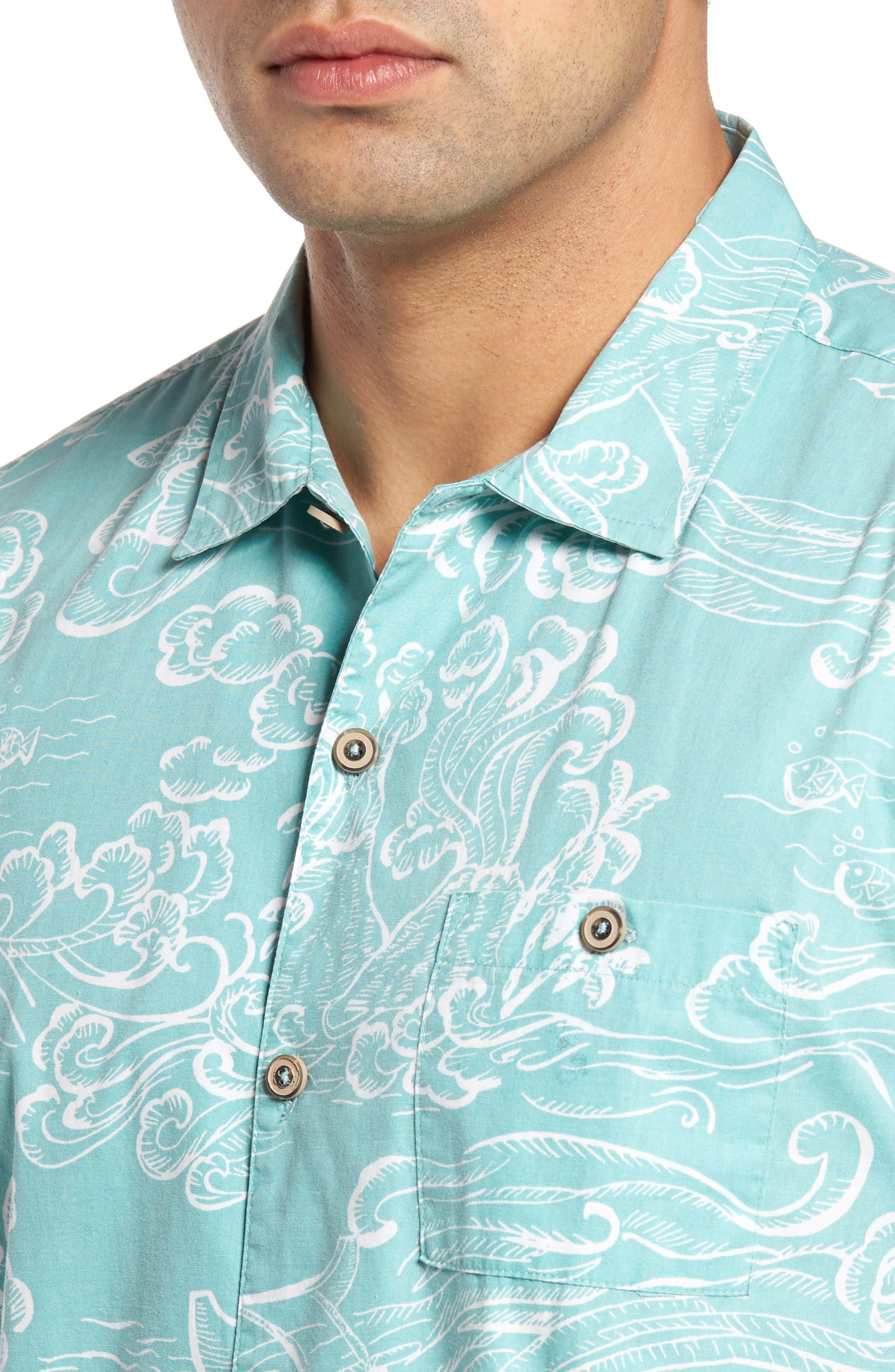 Pele Classic Fit Print Camp Shirt,                             Alternate thumbnail 4, color,                             439