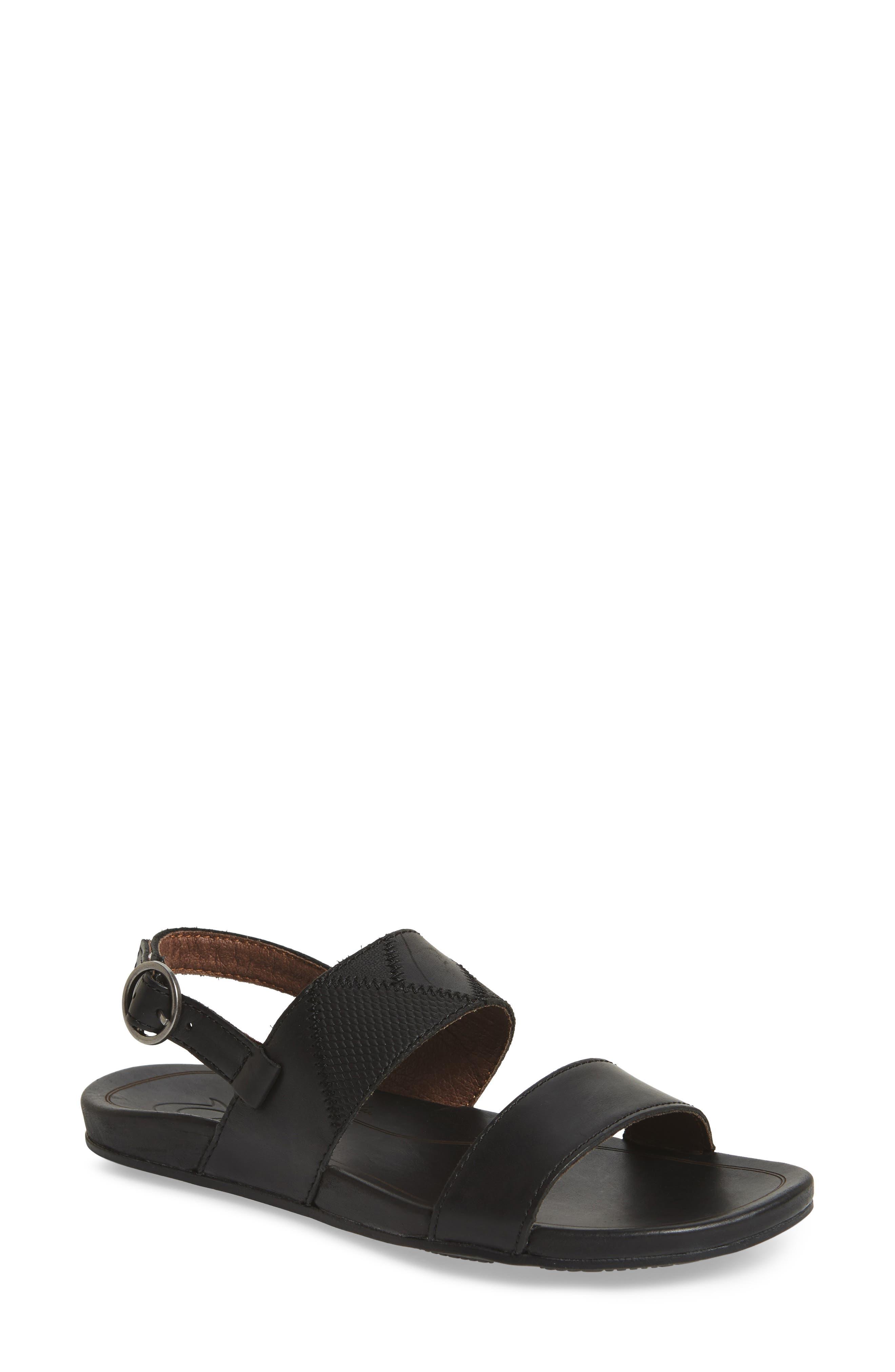 Hi'ona Pa'I Sandal, Main, color, BLACK/ BLACK LEATHER