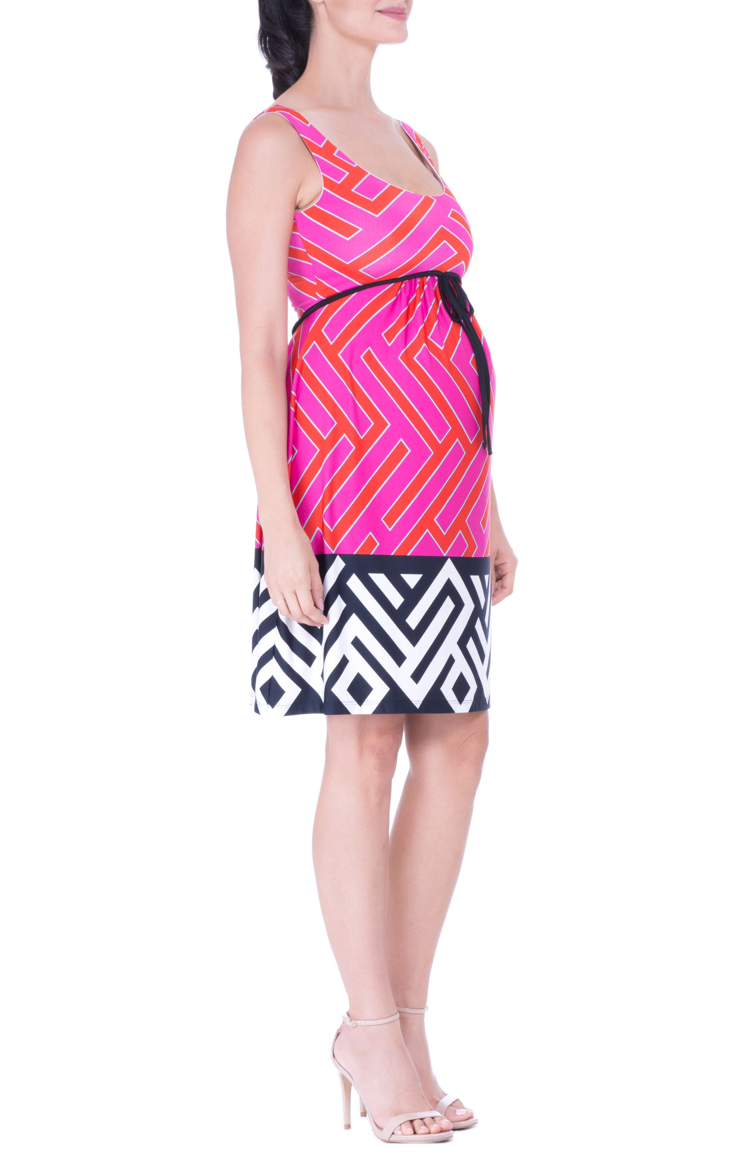Maternity Tank Dress,                             Alternate thumbnail 3, color,                             FUCHSIA