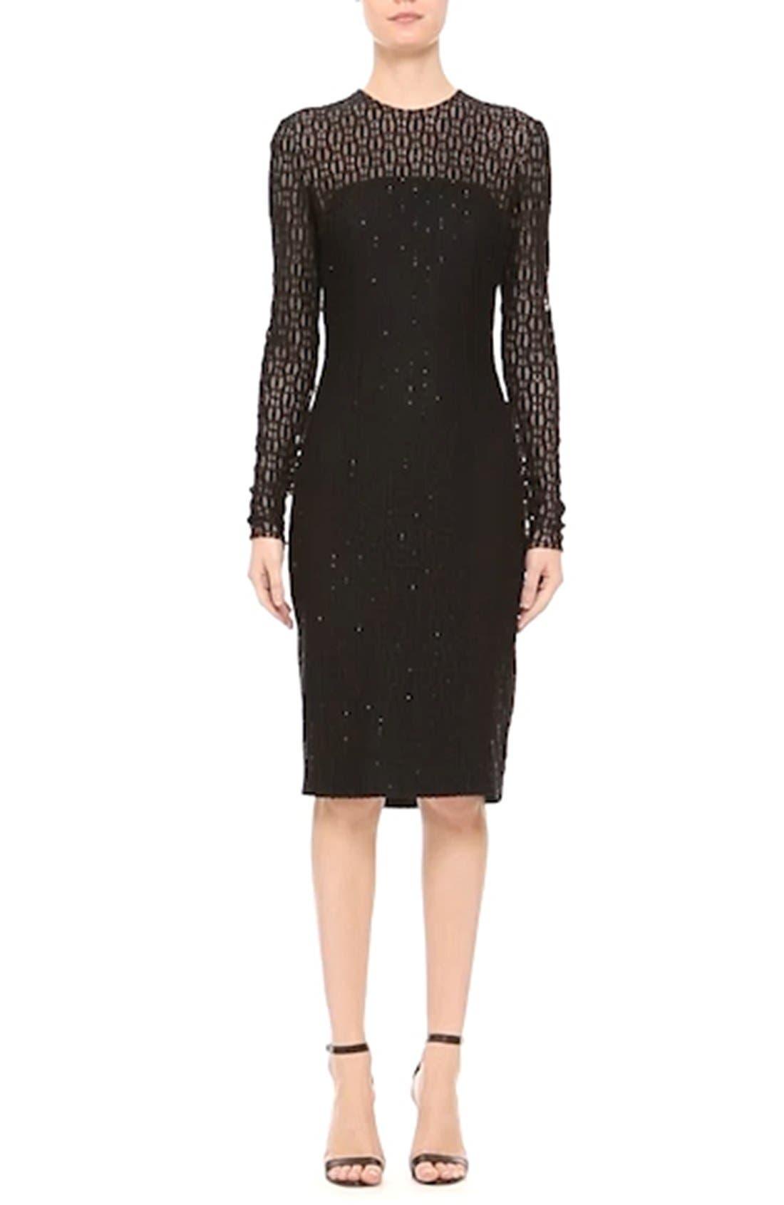 Embellished Illusion Lace Knit Sheath Dress,                             Alternate thumbnail 3, color,                             001