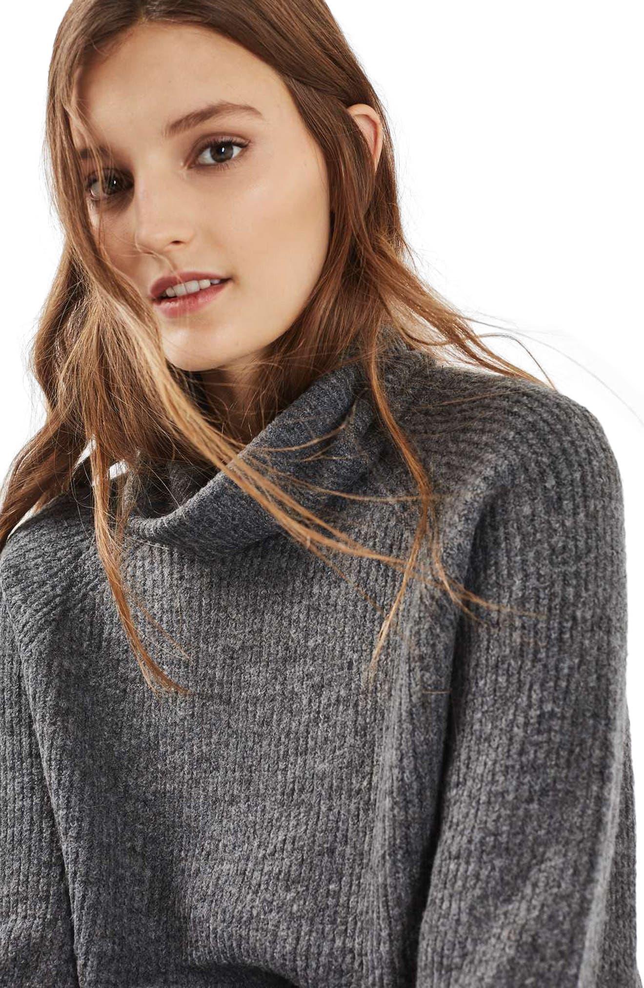TOPSHOP,                             Oversize Turtleneck Sweater,                             Alternate thumbnail 2, color,                             021