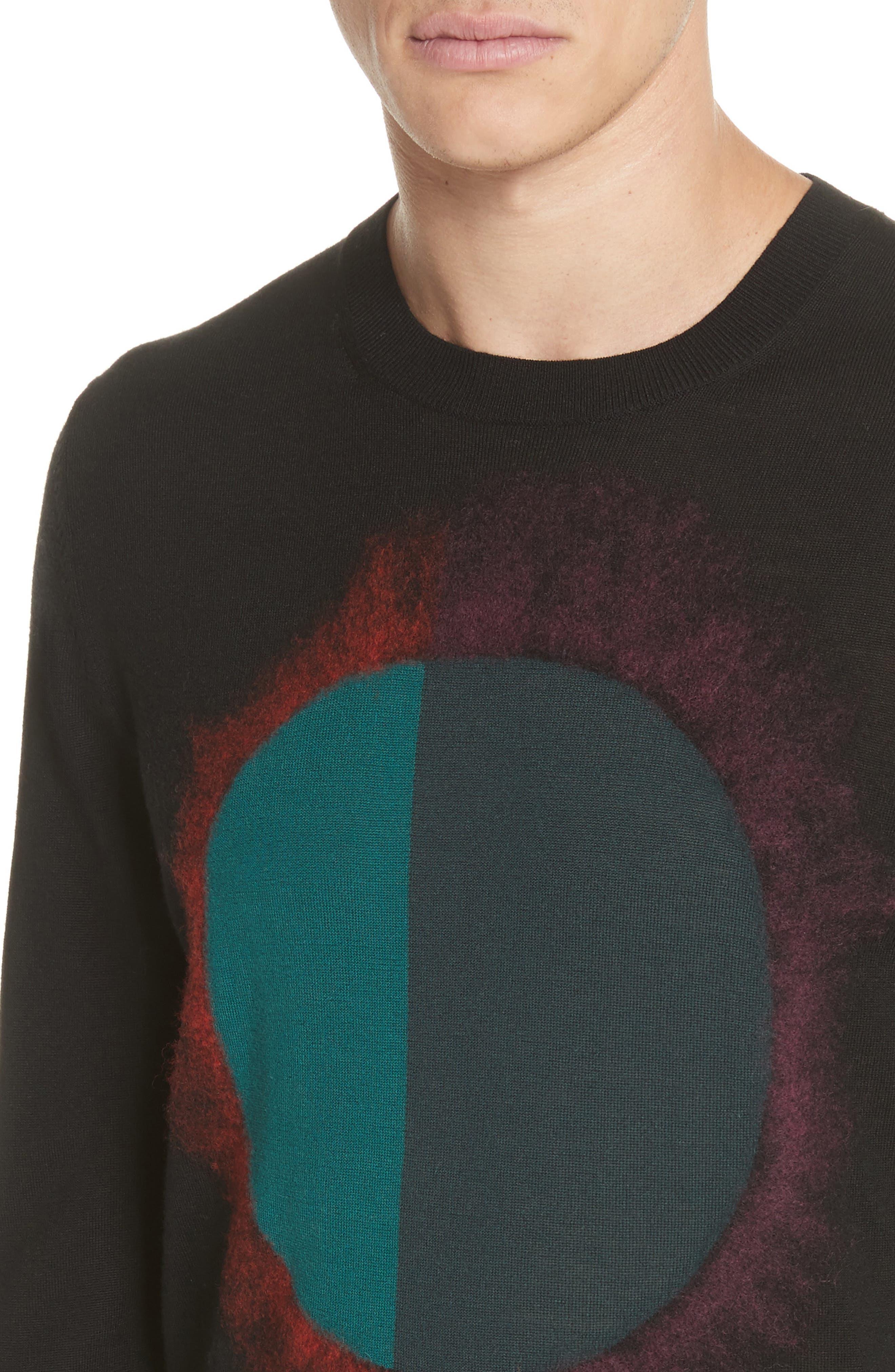 Circle Merino Wool Blend Sweater,                             Alternate thumbnail 4, color,                             001