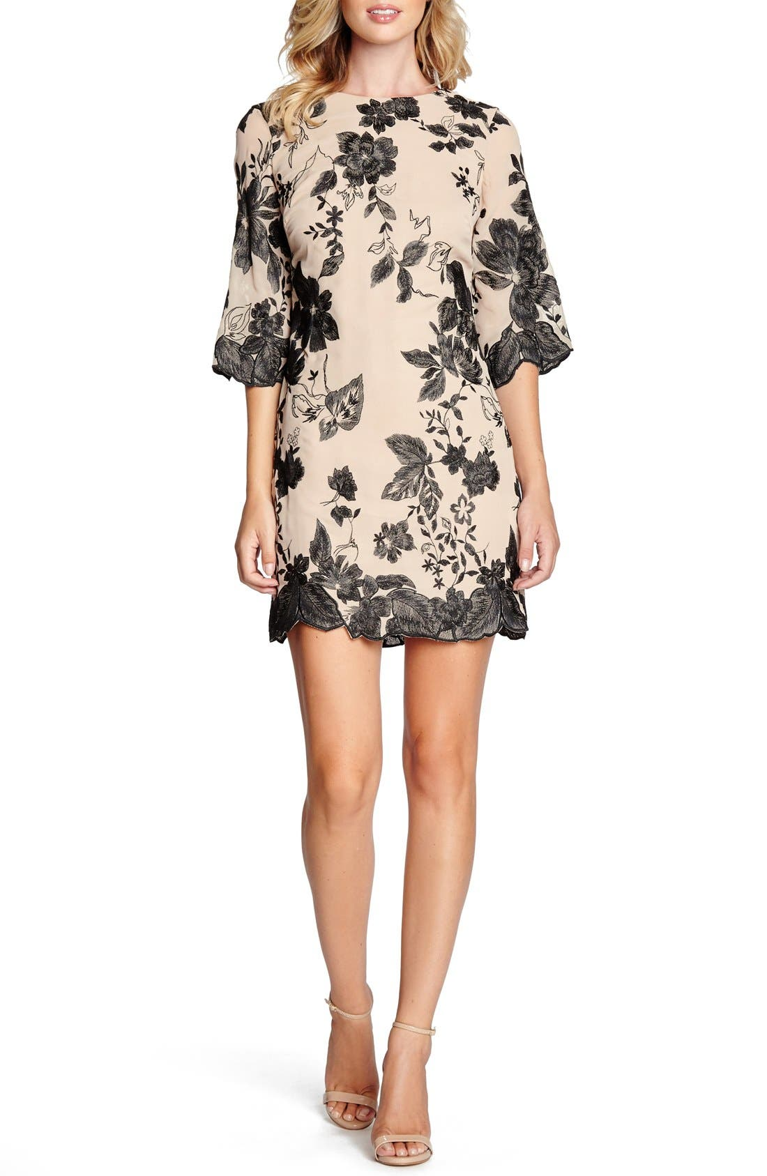 'Paige' Metallic Embroidered Chiffon Shift Dress,                             Alternate thumbnail 5, color,                             259