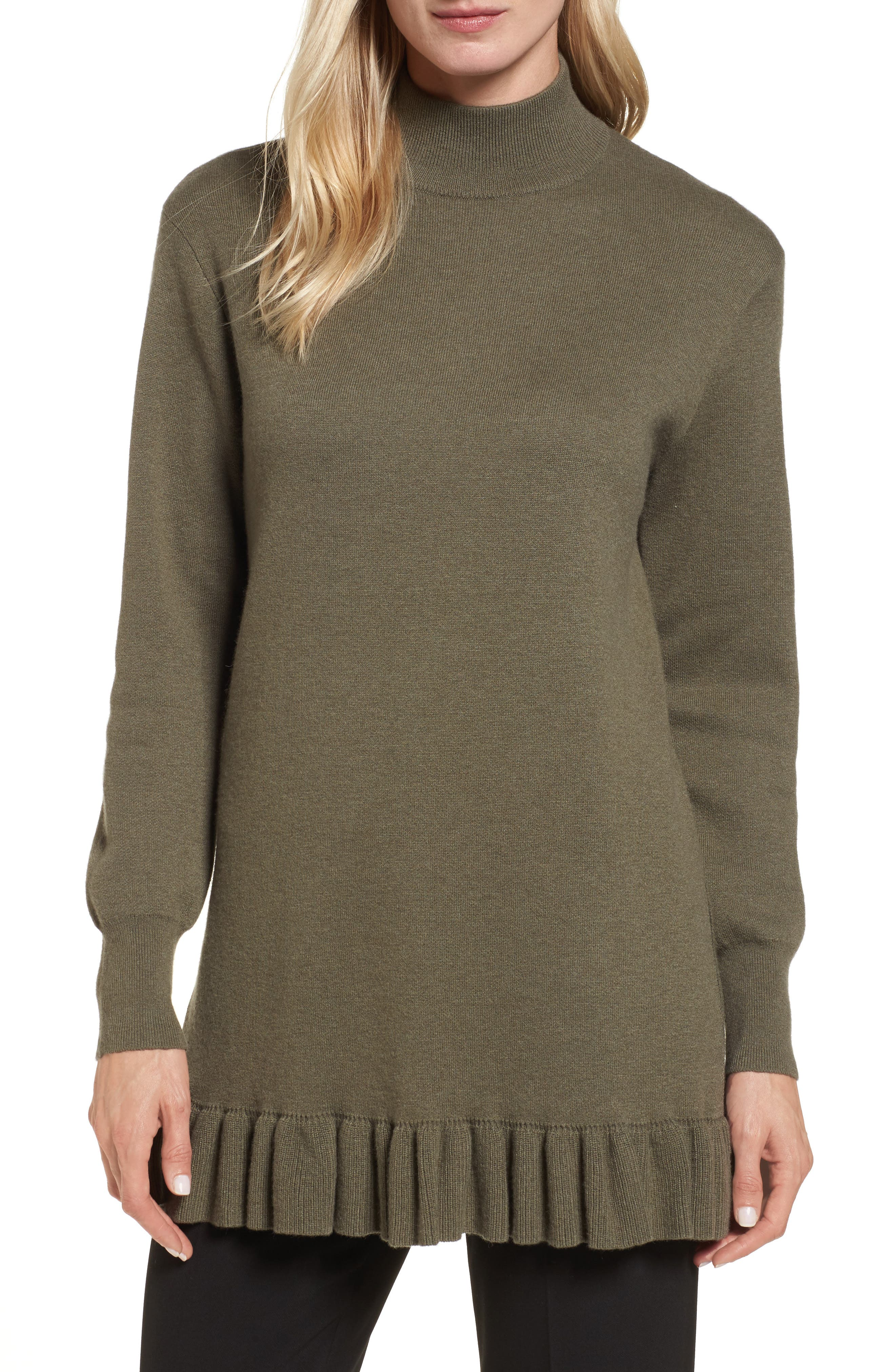 Ruffle Hem Cashmere Blend Tunic,                         Main,                         color, 315
