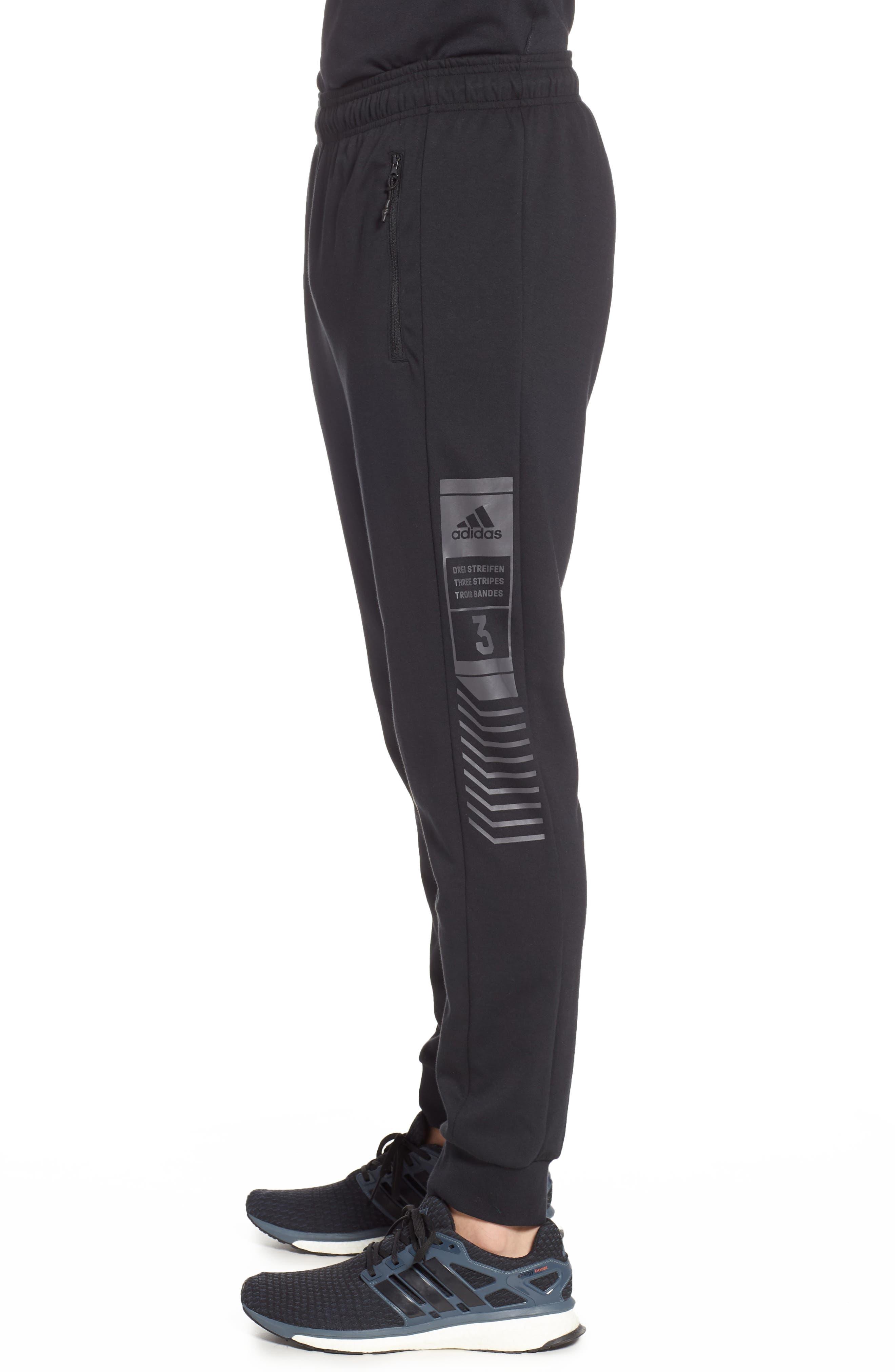 3-Stripes Track Pants,                             Alternate thumbnail 3, color,                             BLACK