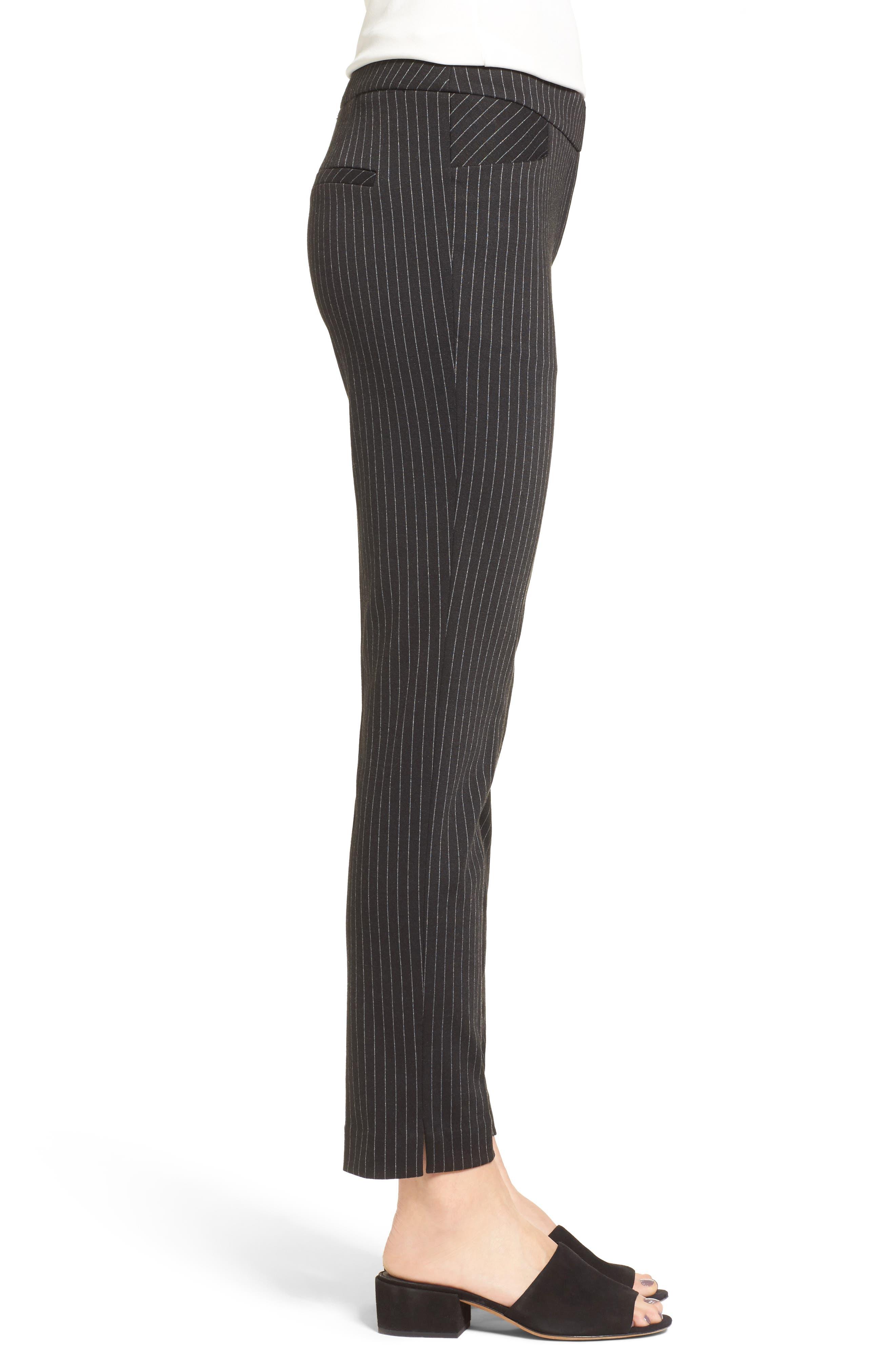 Pinstripe Ankle Pants,                             Alternate thumbnail 3, color,                             001