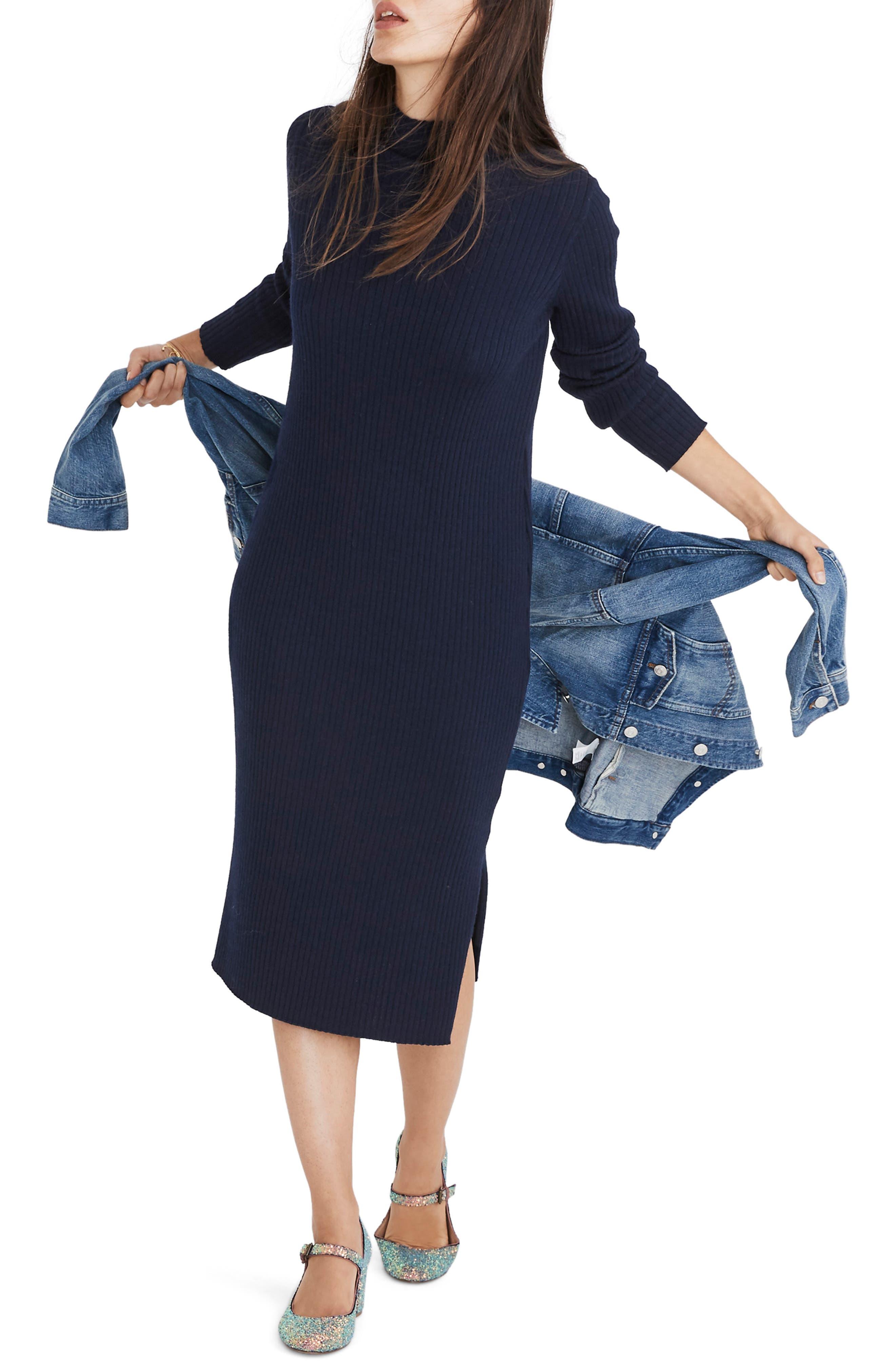 Madewell Mock Neck Midi Sweater Dress