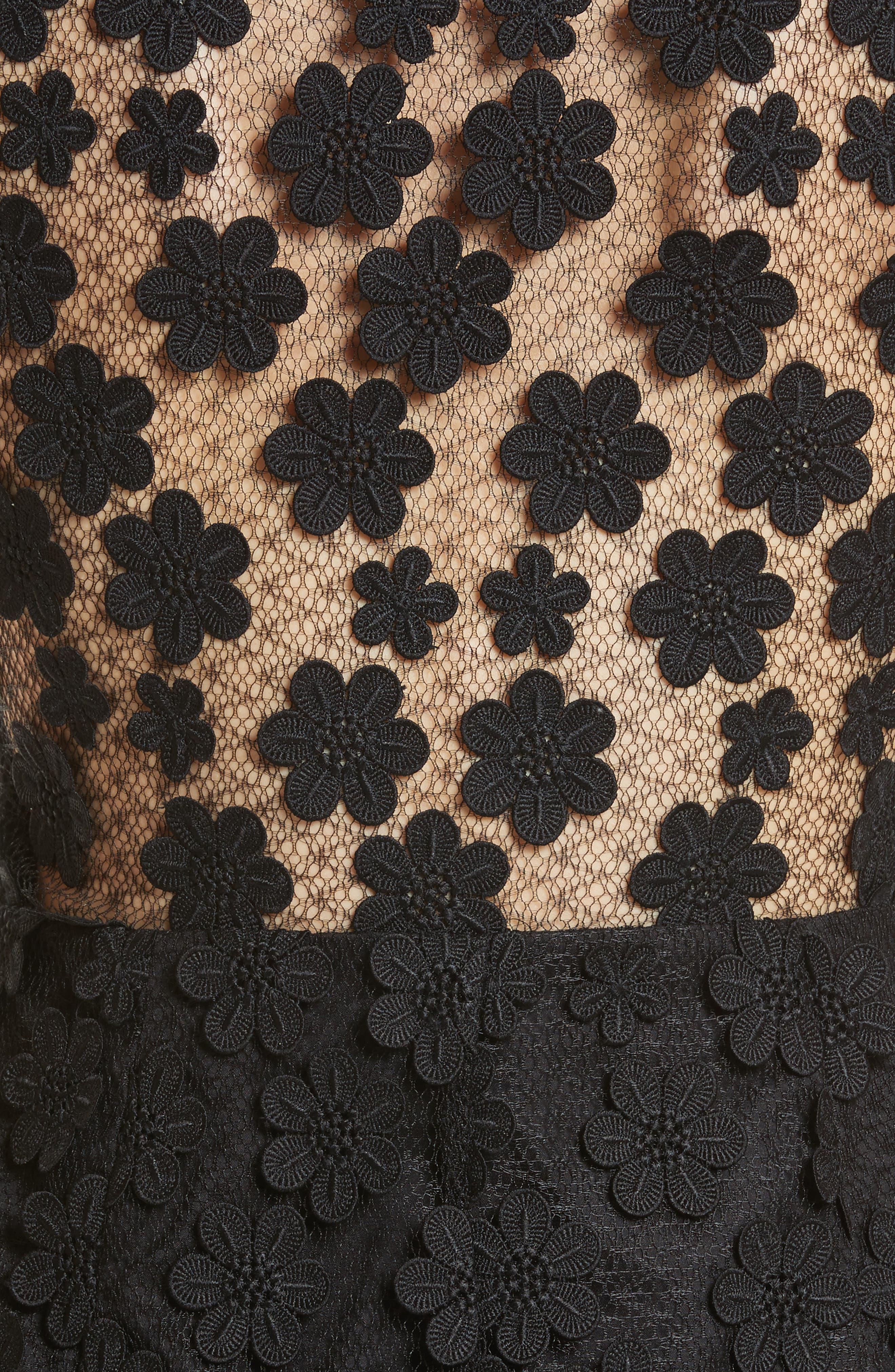 Mari Floral Appliqué Sheath Dress,                             Alternate thumbnail 5, color,                             001