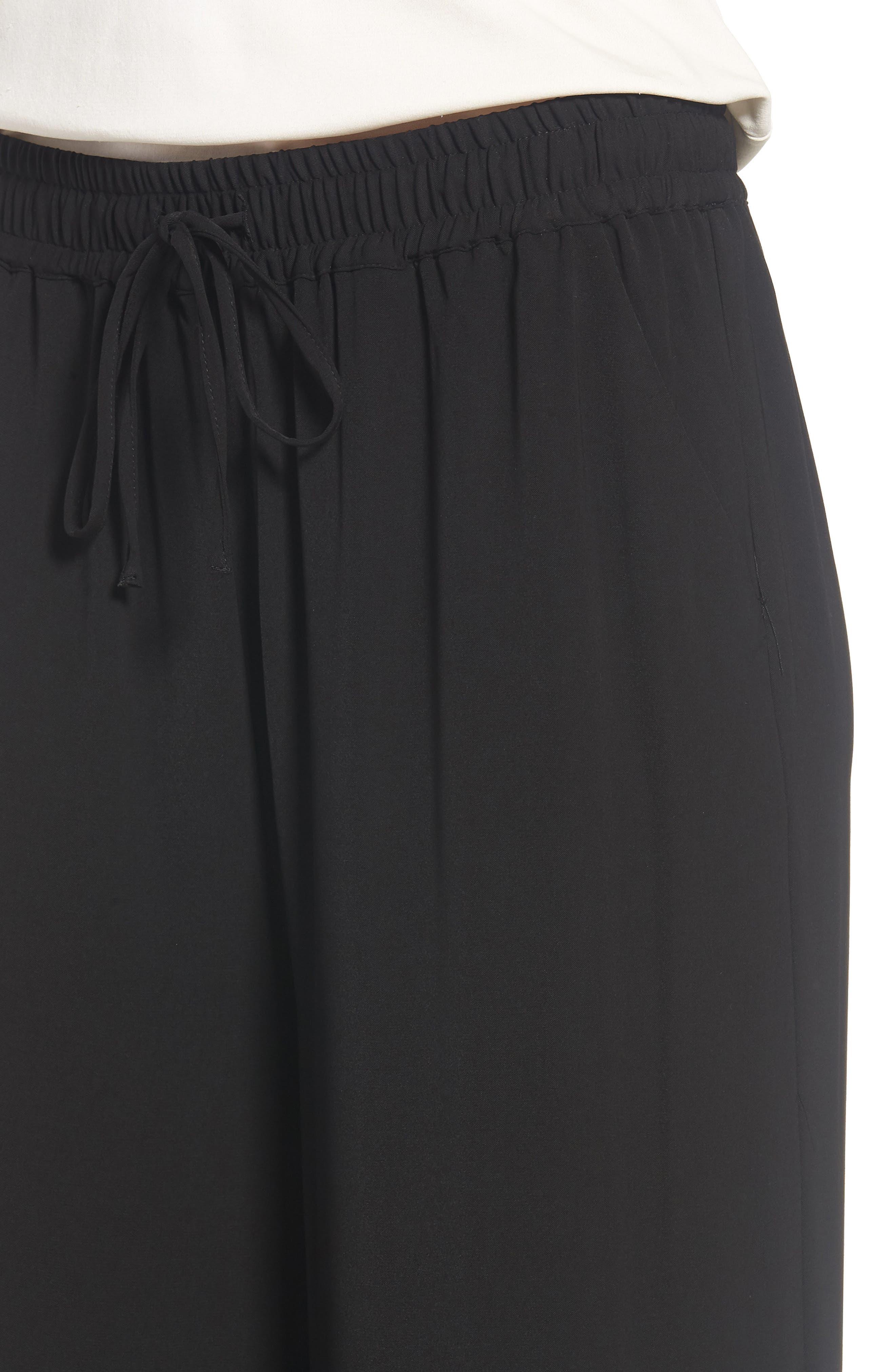Easy Fit Wide Leg Drawstring Pants,                             Alternate thumbnail 4, color,