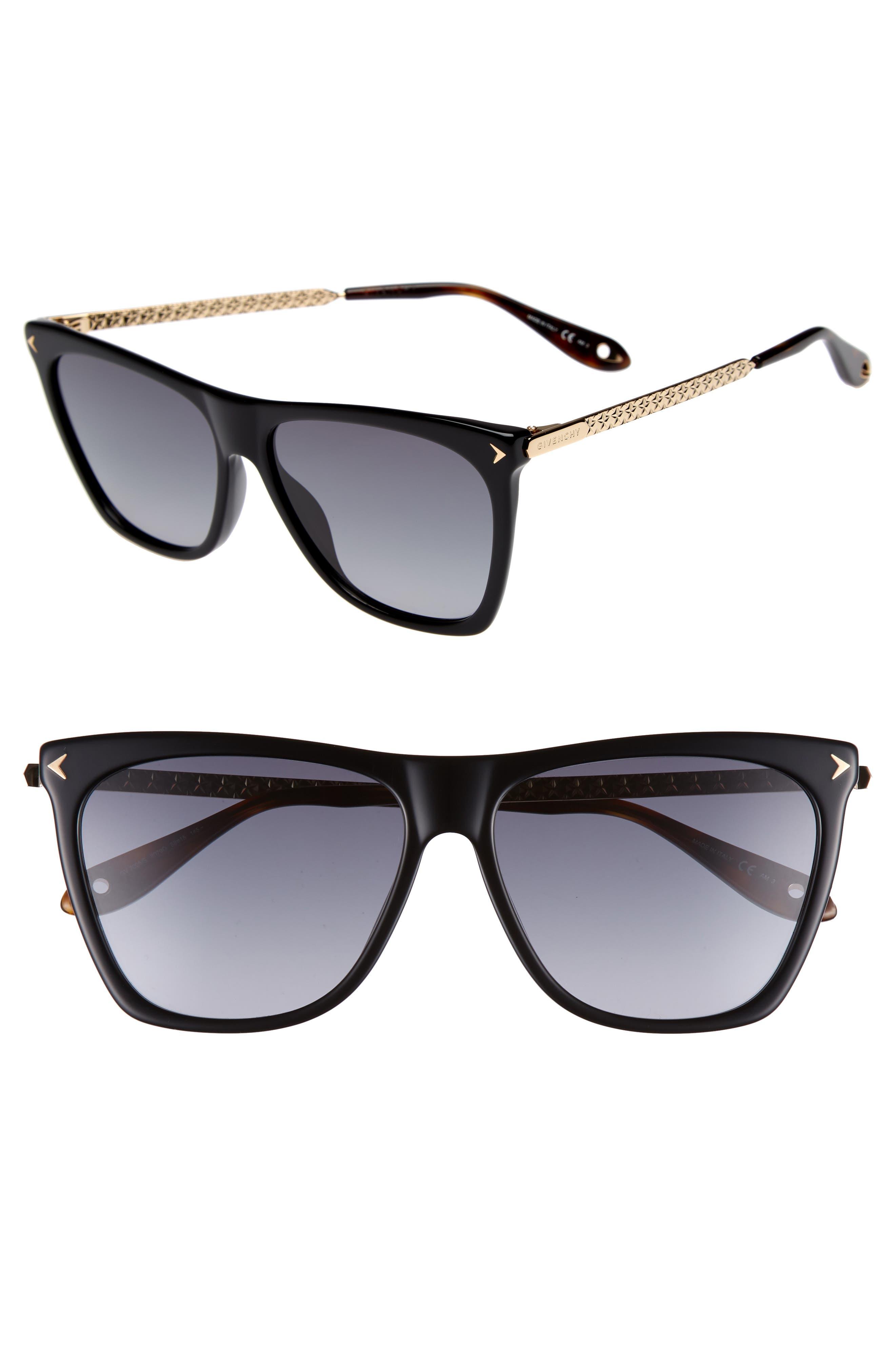 58mm Flat Top Sunglasses,                         Main,                         color, BLACK