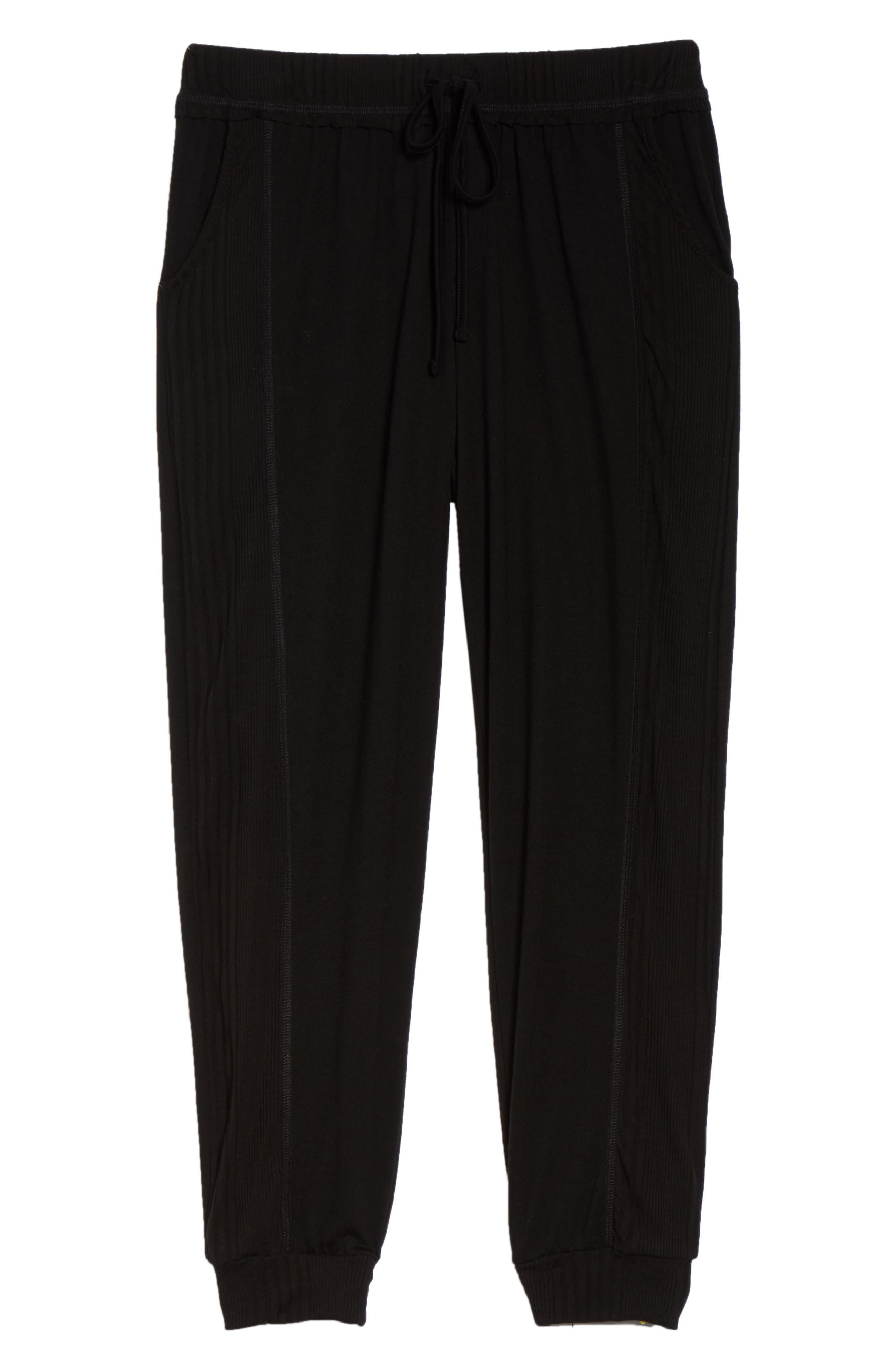 Crop Pajama Pants,                             Alternate thumbnail 6, color,                             BLACK