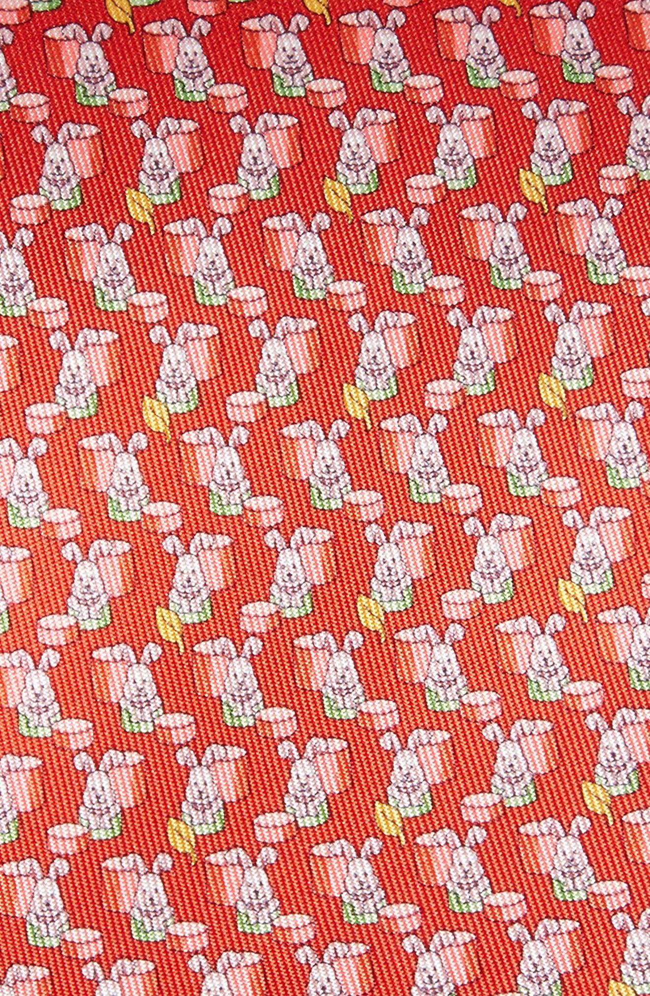 Bunny Print Silk Tie,                             Alternate thumbnail 5, color,