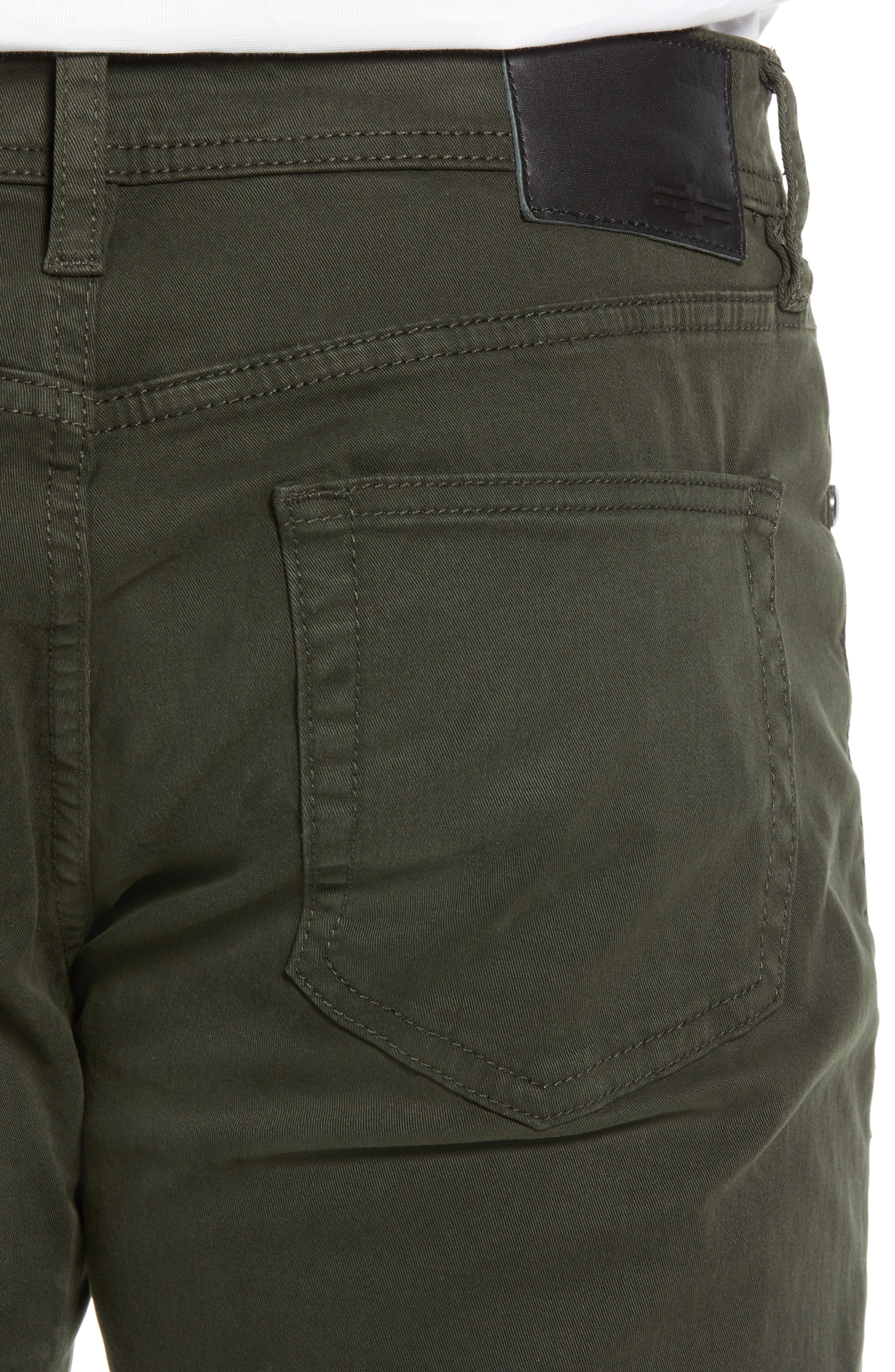 Regent Relaxed Straight Leg Twill Pants,                             Alternate thumbnail 4, color,                             OLIVE MULCH