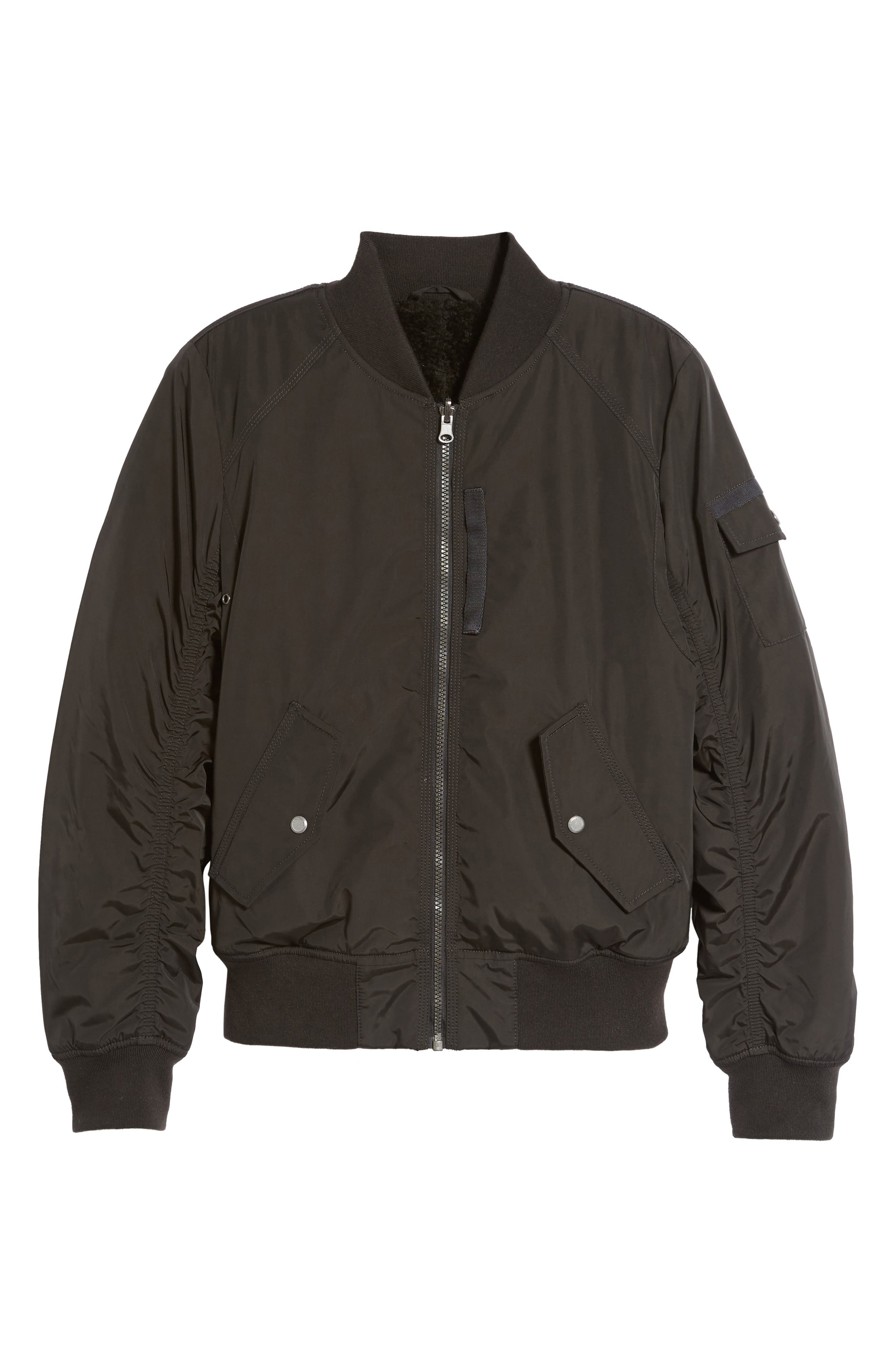 Andrew Marc Nicole Reversible Bomber Jacket,                             Alternate thumbnail 5, color,                             001