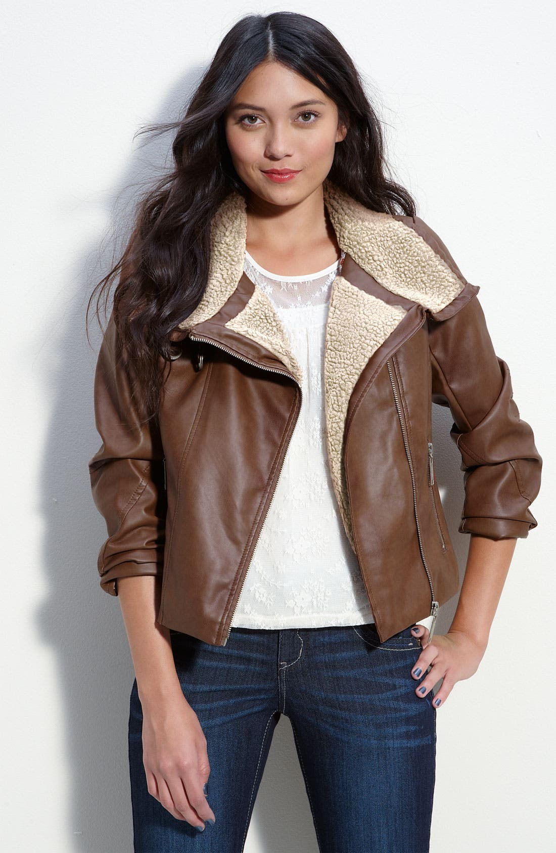 Faux Leather & Shearling Aviator Jacket, Main, color, 232