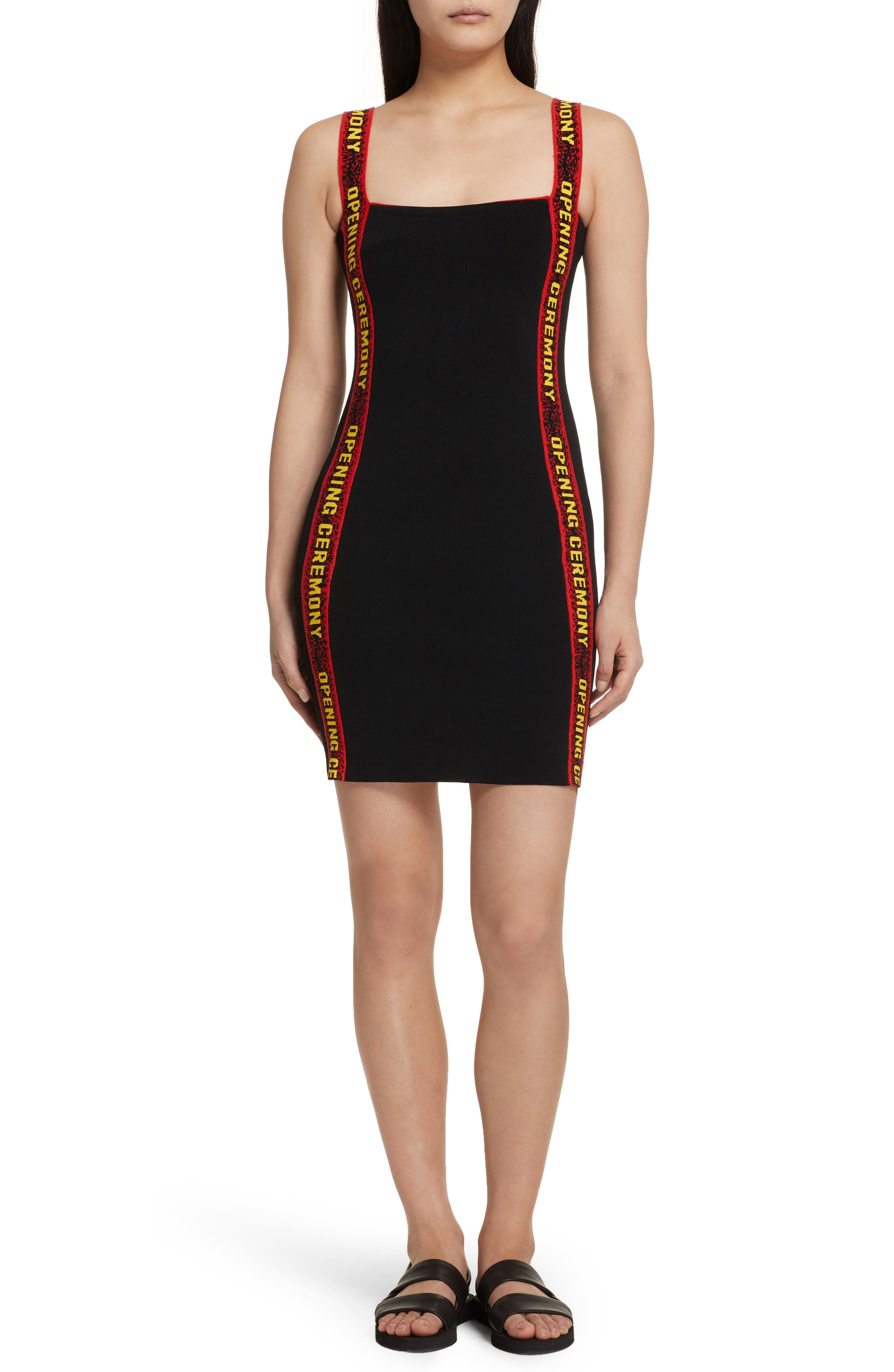Logo Tape Ribbed Body-Con Dress,                         Main,                         color, 001