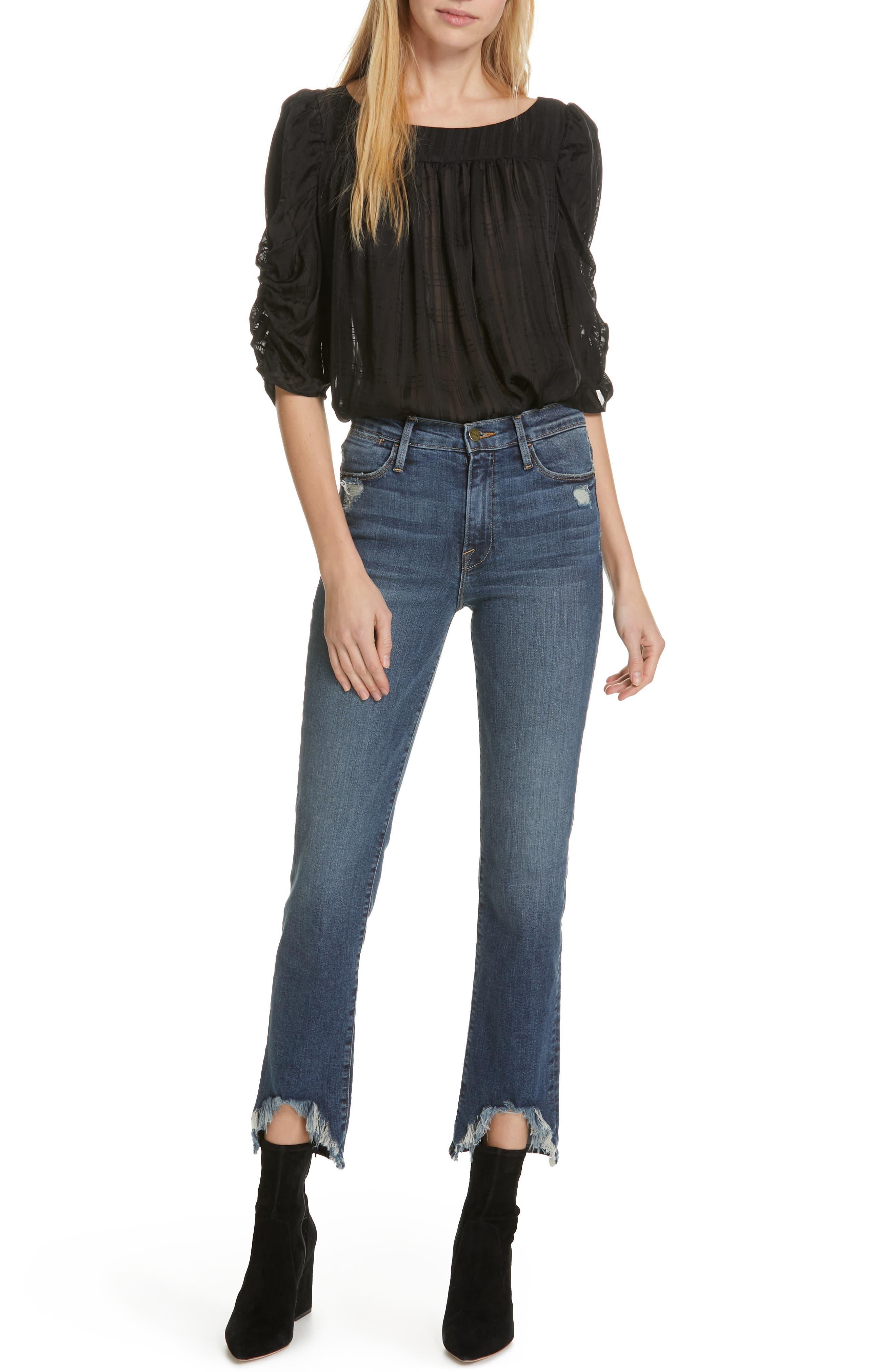 FRAME,                             Le High Straight Curve Hem Jeans,                             Alternate thumbnail 8, color,                             RUE