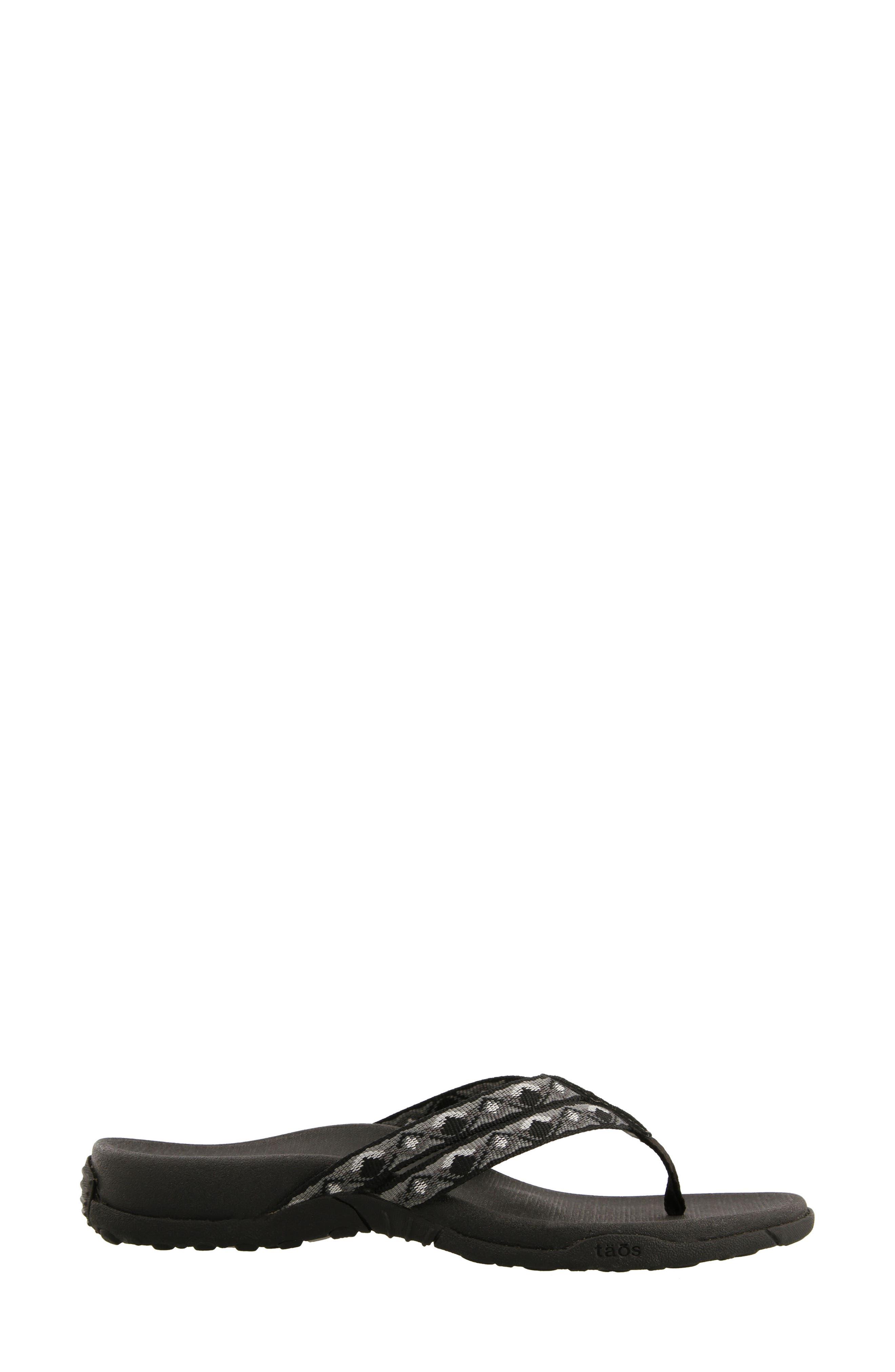 Primo Flip Flop,                             Alternate thumbnail 2, color,                             BLACK/ WHITE FABRIC