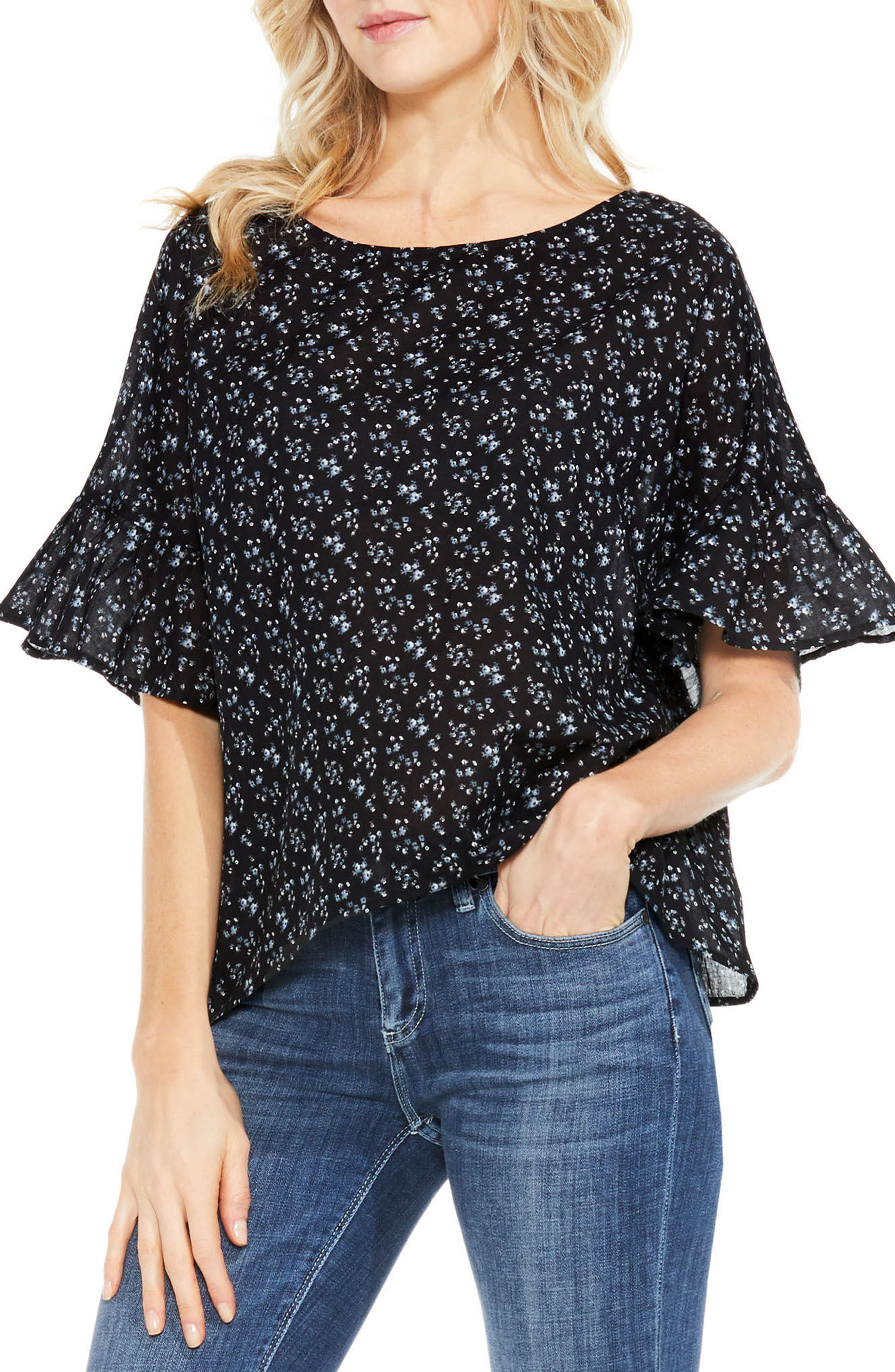 Mini Bouquets Bell Sleeve Blouse,                         Main,                         color, 006
