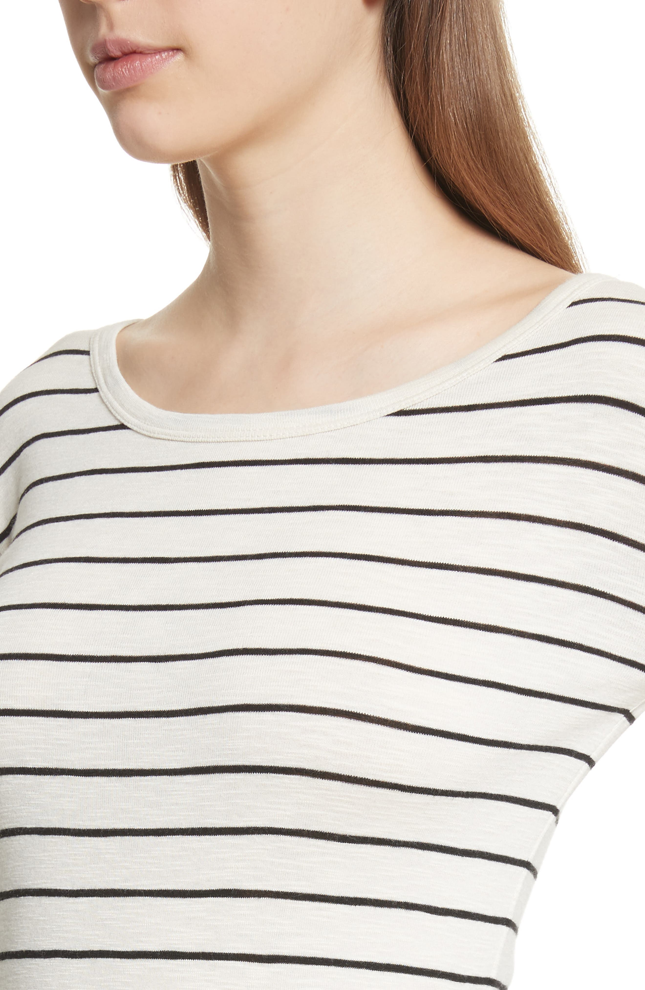 Chalk Stripe Fitted Crewneck Tee,                             Alternate thumbnail 8, color,